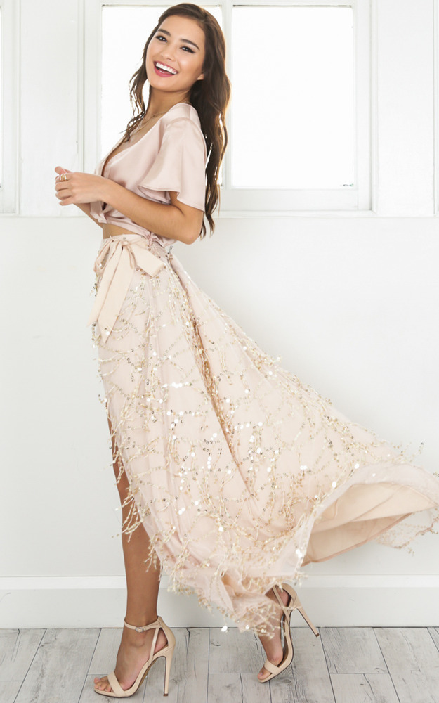 Break A Leg Maxi Skirt in gold sequin - 6 (XS), GLD1, hi-res image number null
