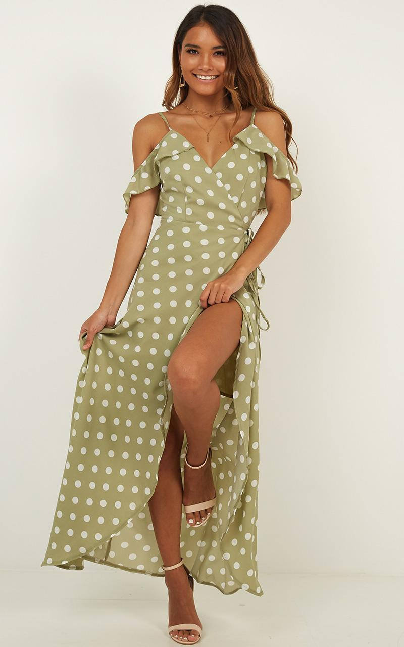 Flowing Free Dress in sage spot - 12 (L), Sage, hi-res image number null