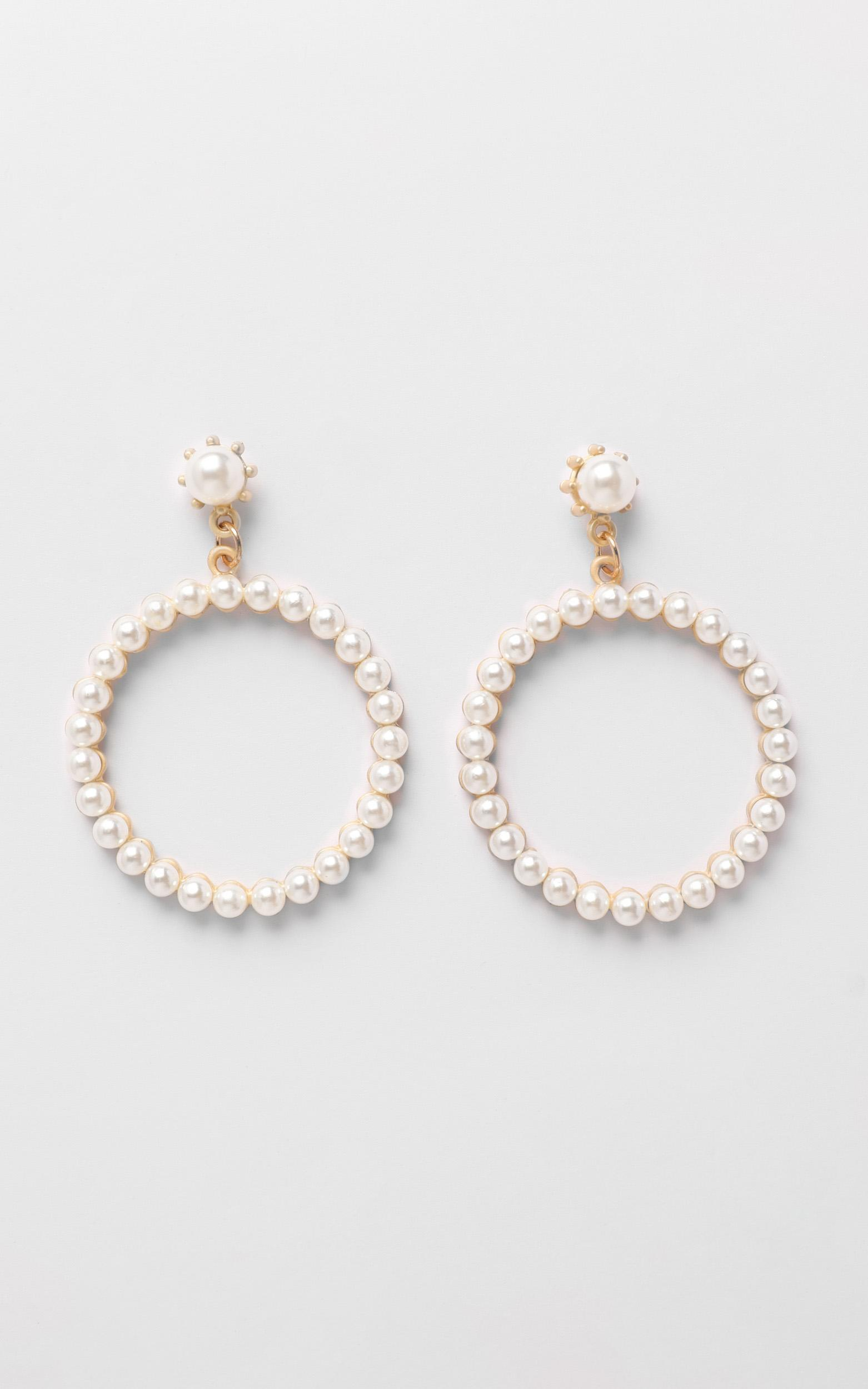 JT Luxe - Kaia Pearl Hoop Earrings in Gold, , hi-res image number null