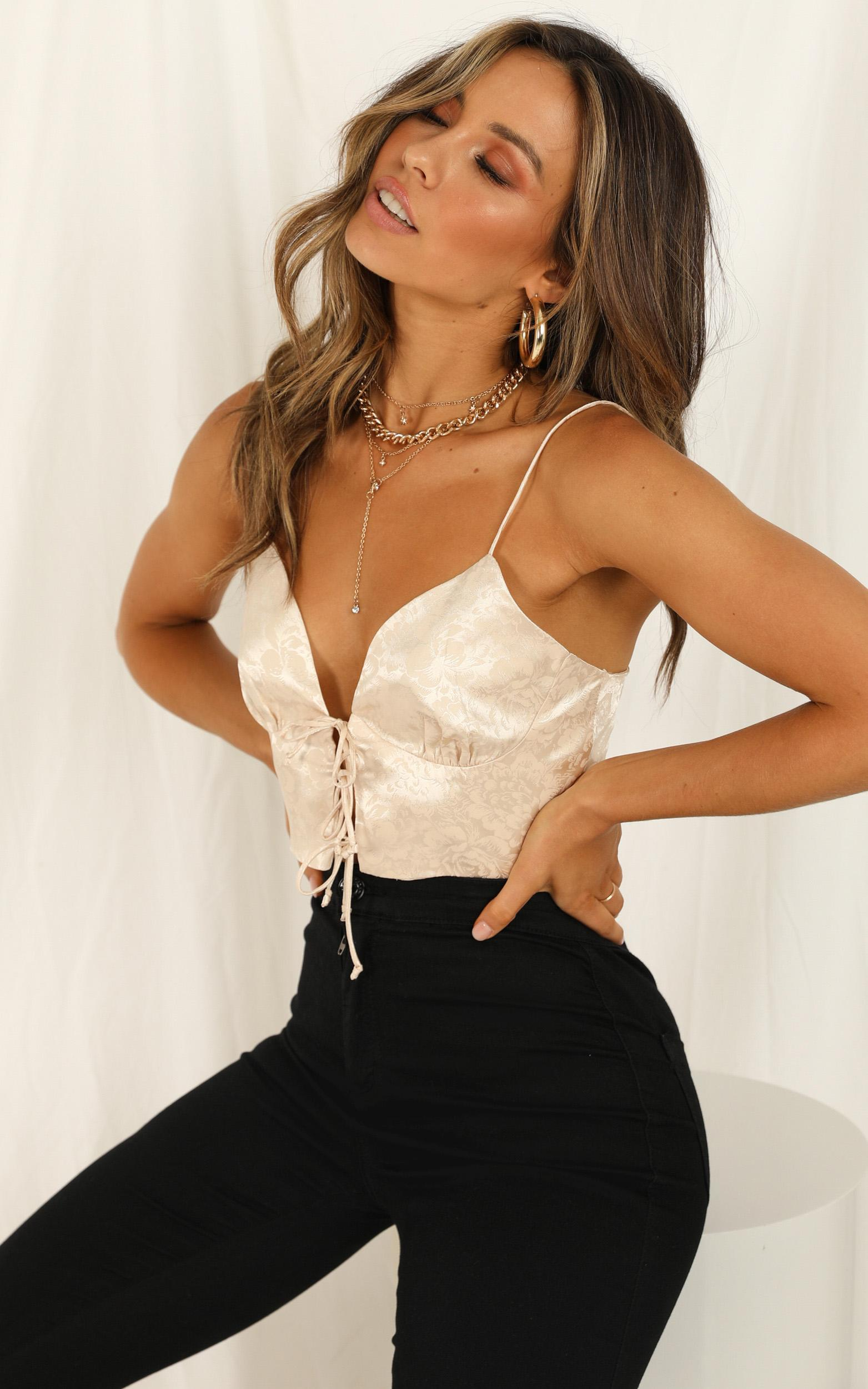 Confess To Me top in champagne satin - 12 (L), Beige, hi-res image number null