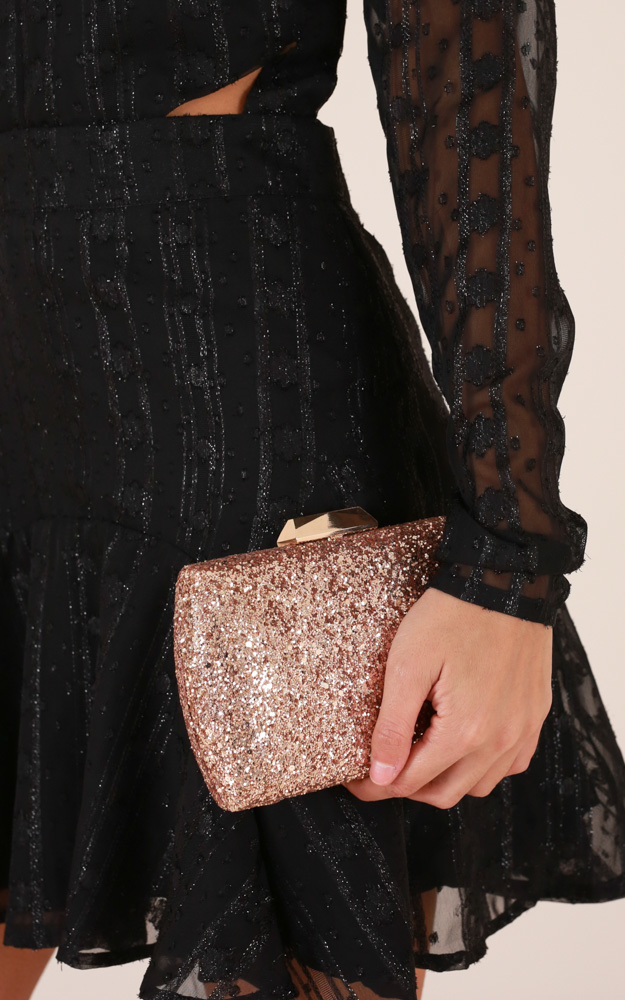 Glitter Queen clutch in gold, , hi-res image number null