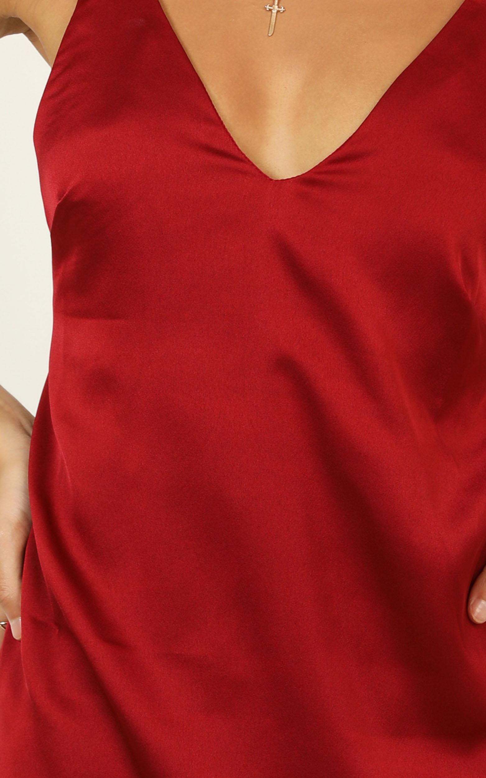 Mean So Much Dress In Wine Satin - 18 (XXXL), Wine, hi-res image number null