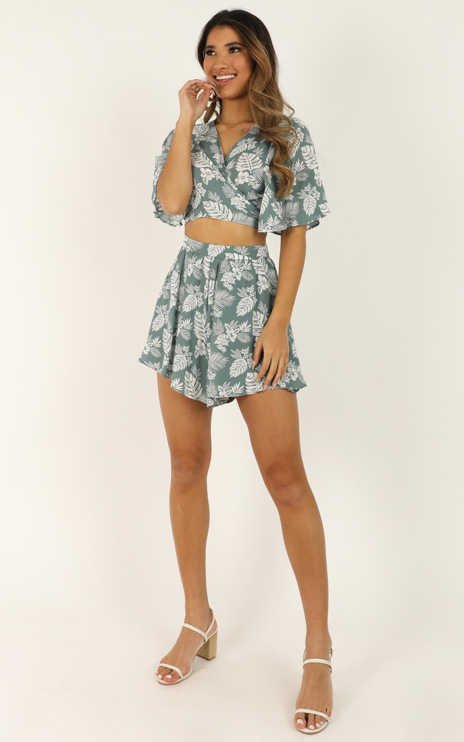 Waiting For Your Love Two Piece set in sage floral - 12 (L), Sage, hi-res image number null