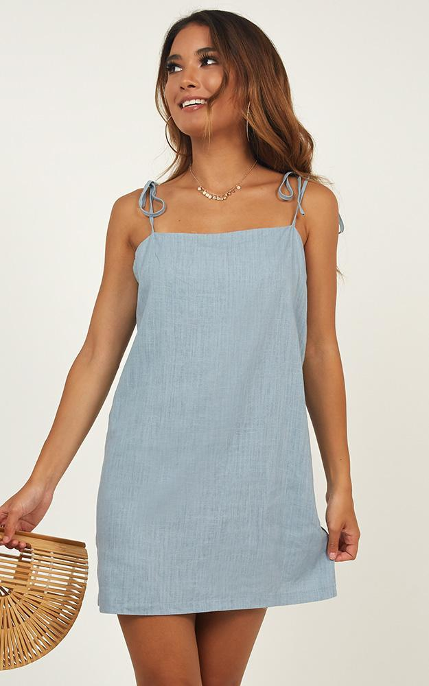 Say It Aint So Dress in blue linen look - 20 (XXXXL), Blue, hi-res image number null