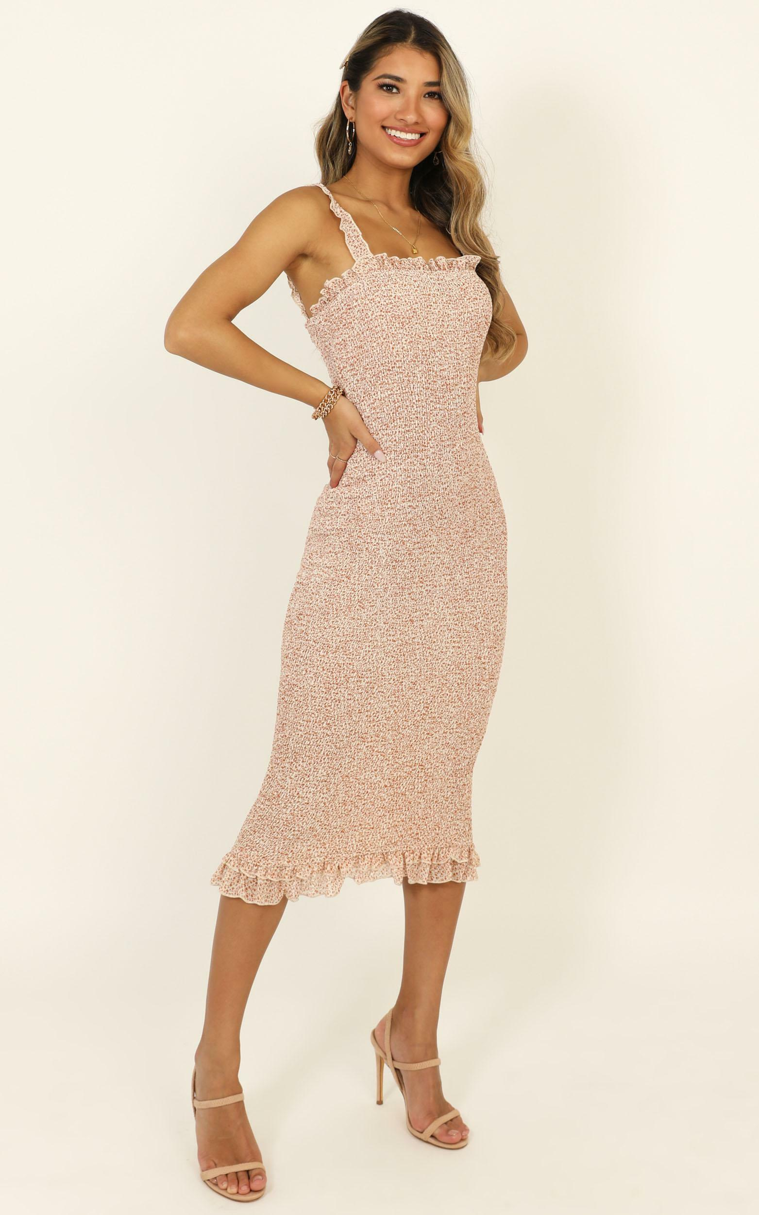 Finding Light dress in peach floral - 14 (XL), Pink, hi-res image number null