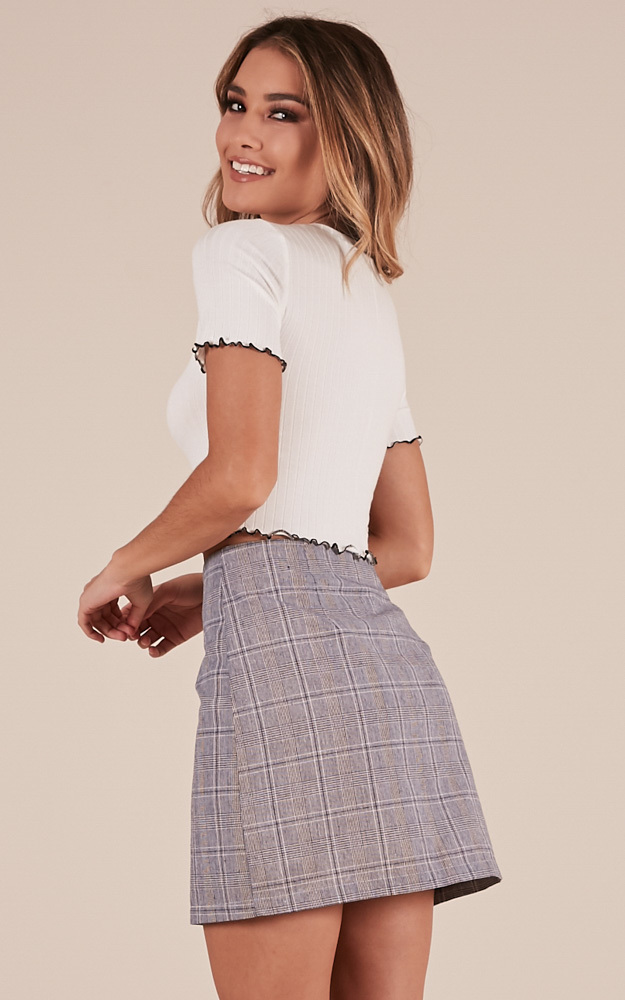 Catch You skirt in grey check - 12 (L), Grey, hi-res image number null