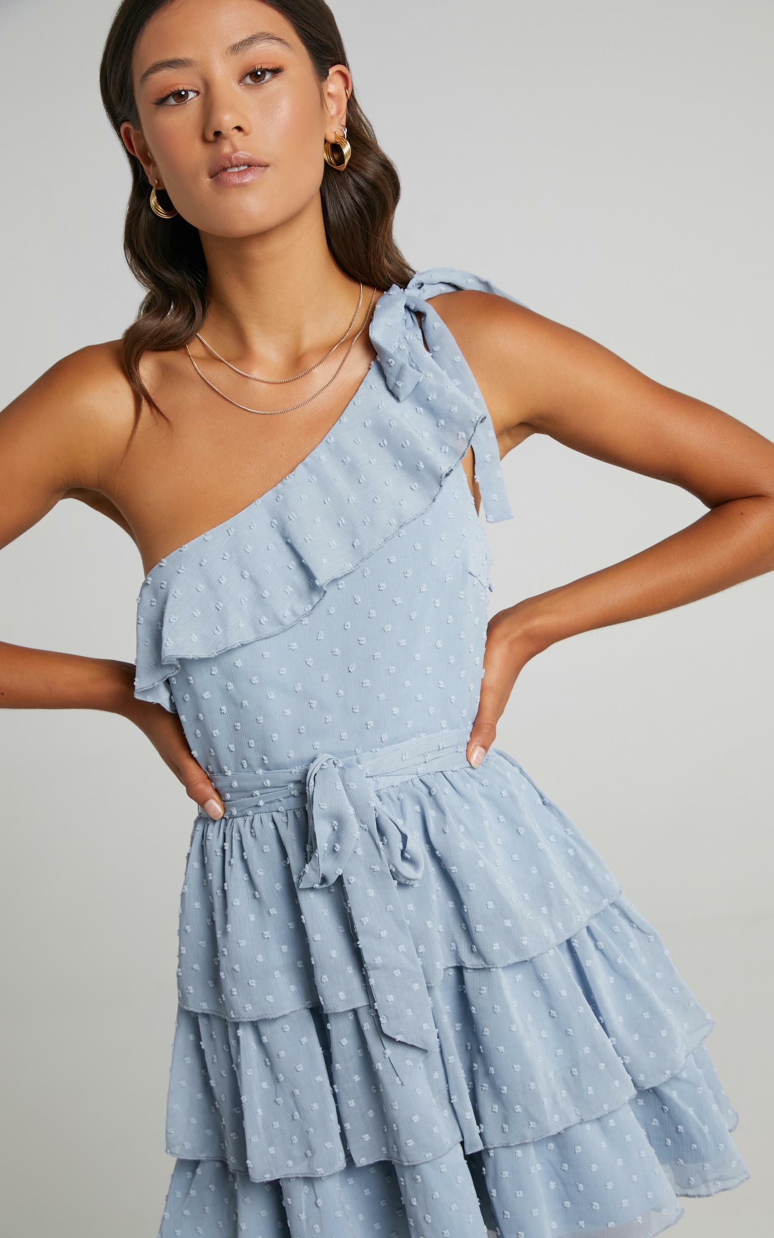 Darling I Am A Daydream One Shoulder Ruffle Mini Dress in Powder Blue - 20, BLU5, hi-res image number null