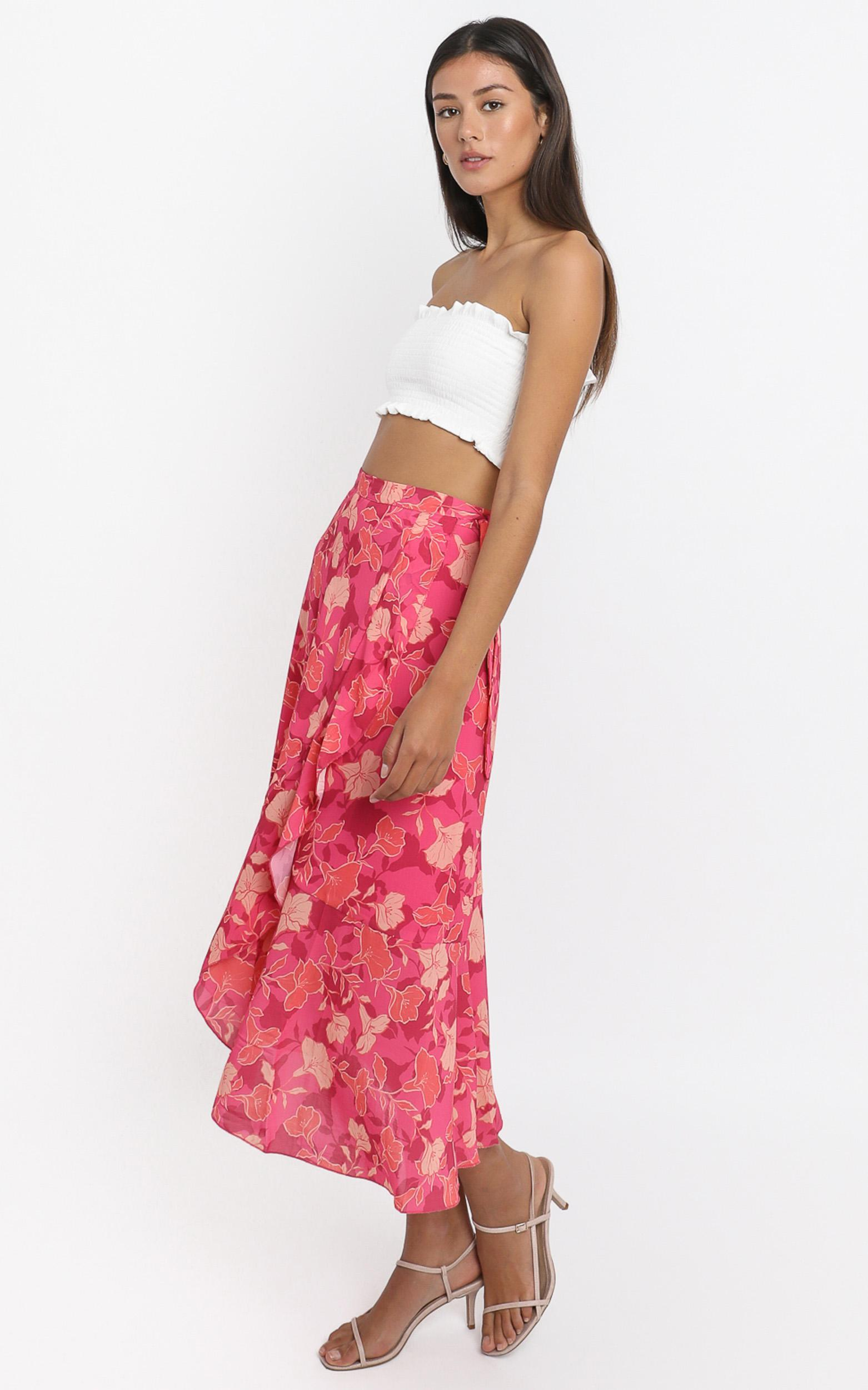 add to the mix Skirt  In berry floral - 20 (XXXXL), Pink, hi-res image number null