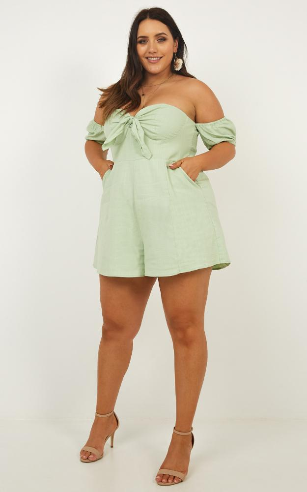 Sweeter Than You Playsuit in sage linen look - 12 (L), Sage, hi-res image number null