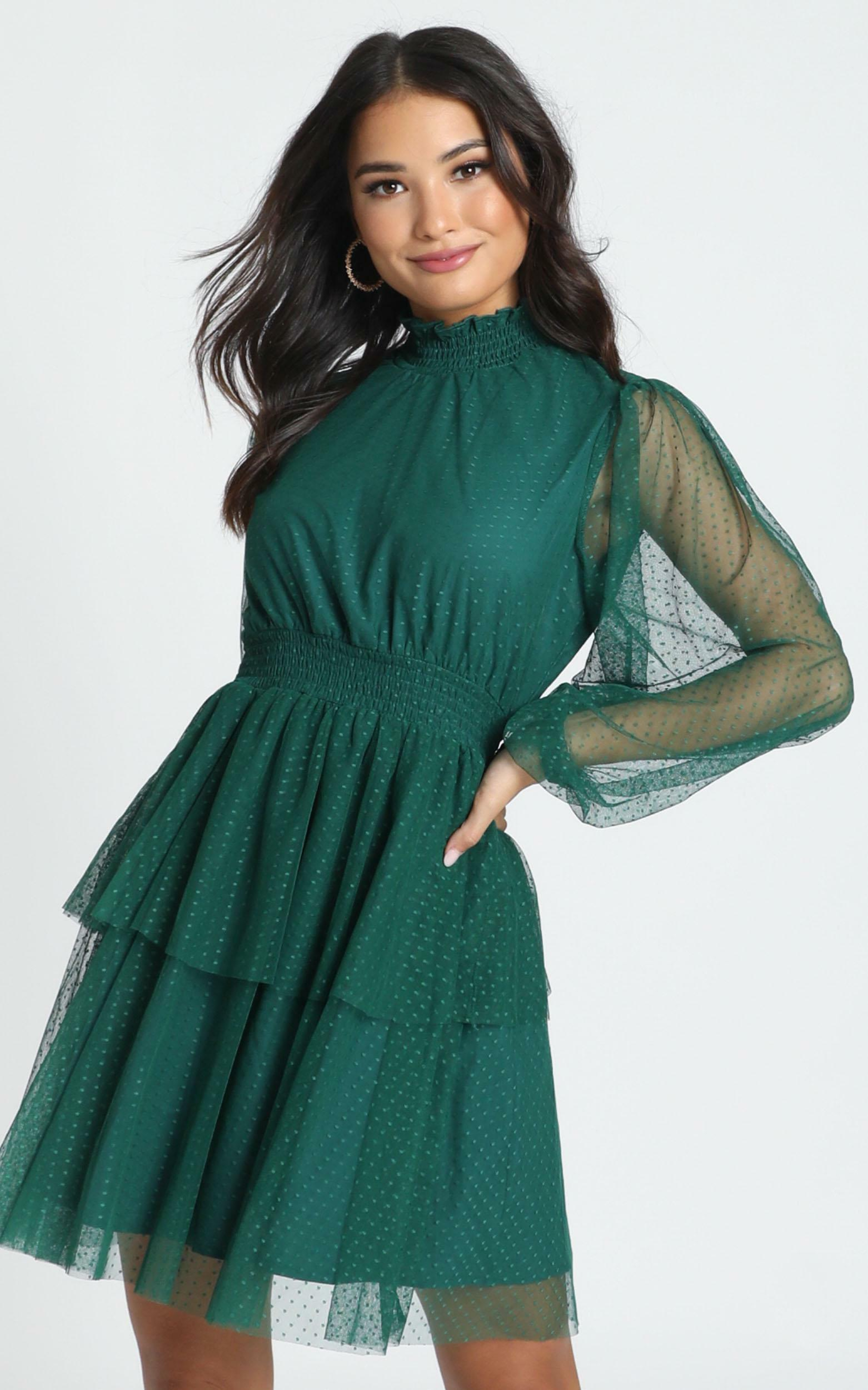 Selene Tiered Mesh Mini Dress in teal spot - 12 (L), Green, hi-res image number null