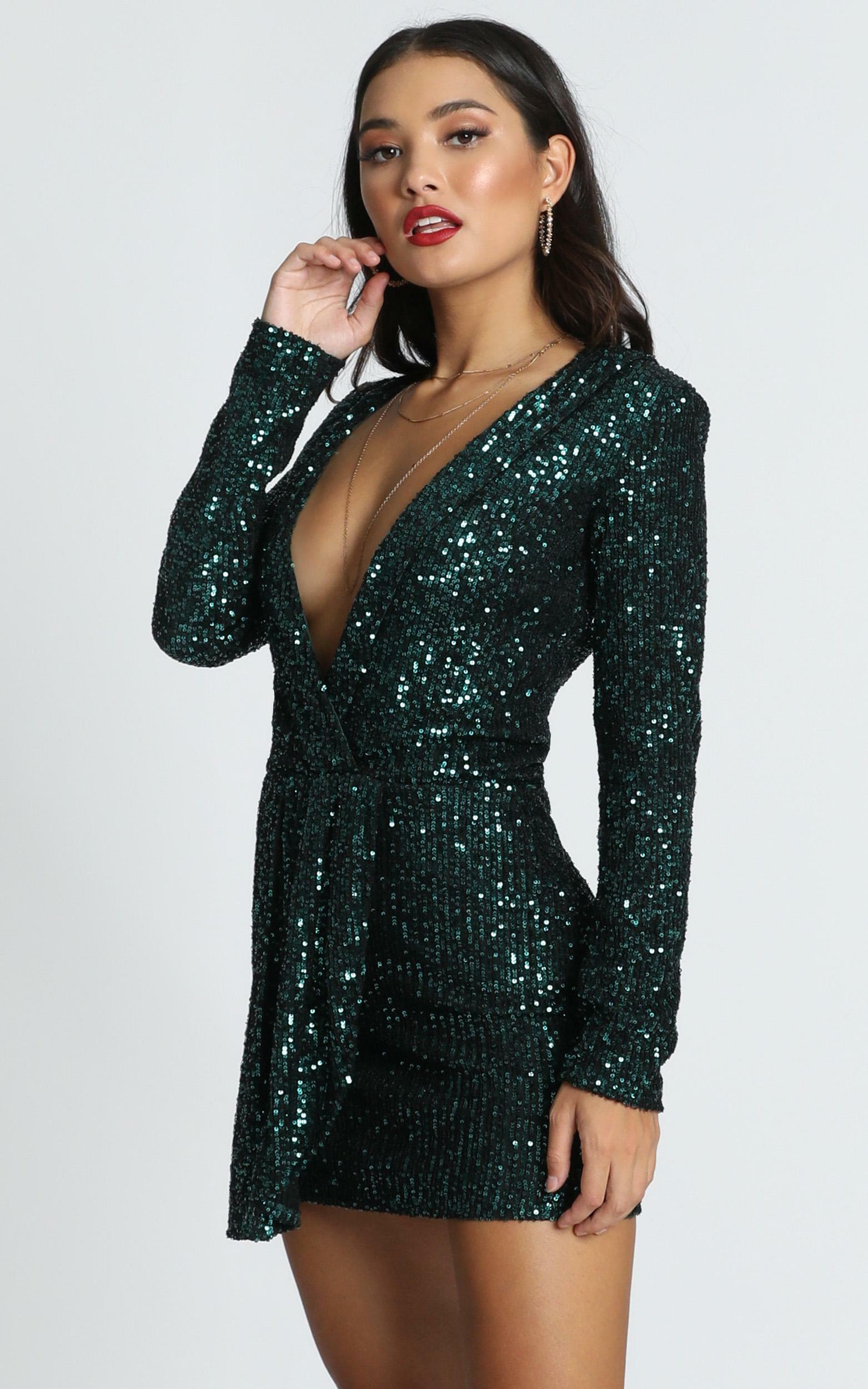 Lioness - Make The Move Dress In Emerald Green Sequin - 16 (XXL), Green, hi-res image number null