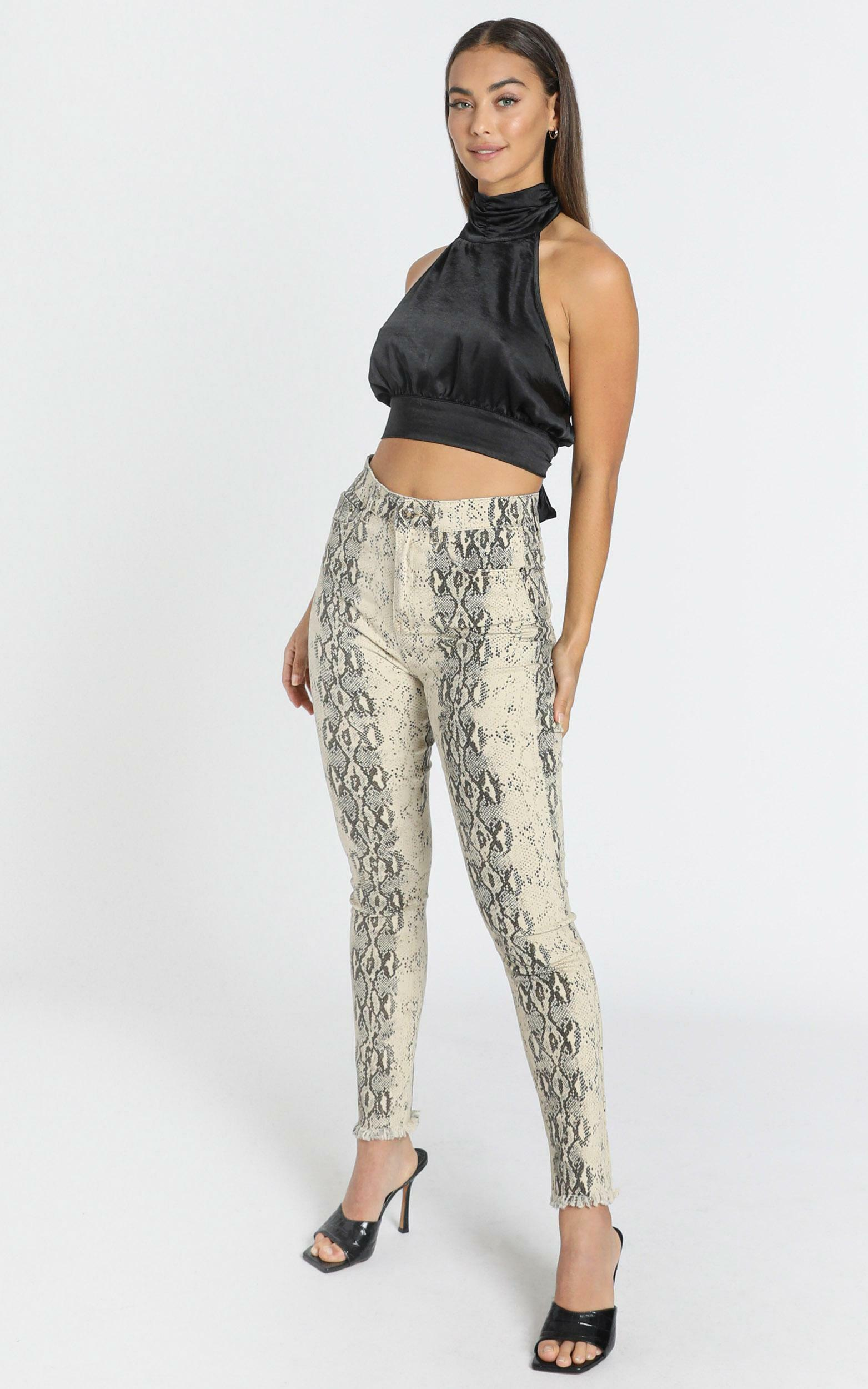 Lioness - Better Than Revenge Pants in Snake Print - 6 (XS), Beige, hi-res image number null