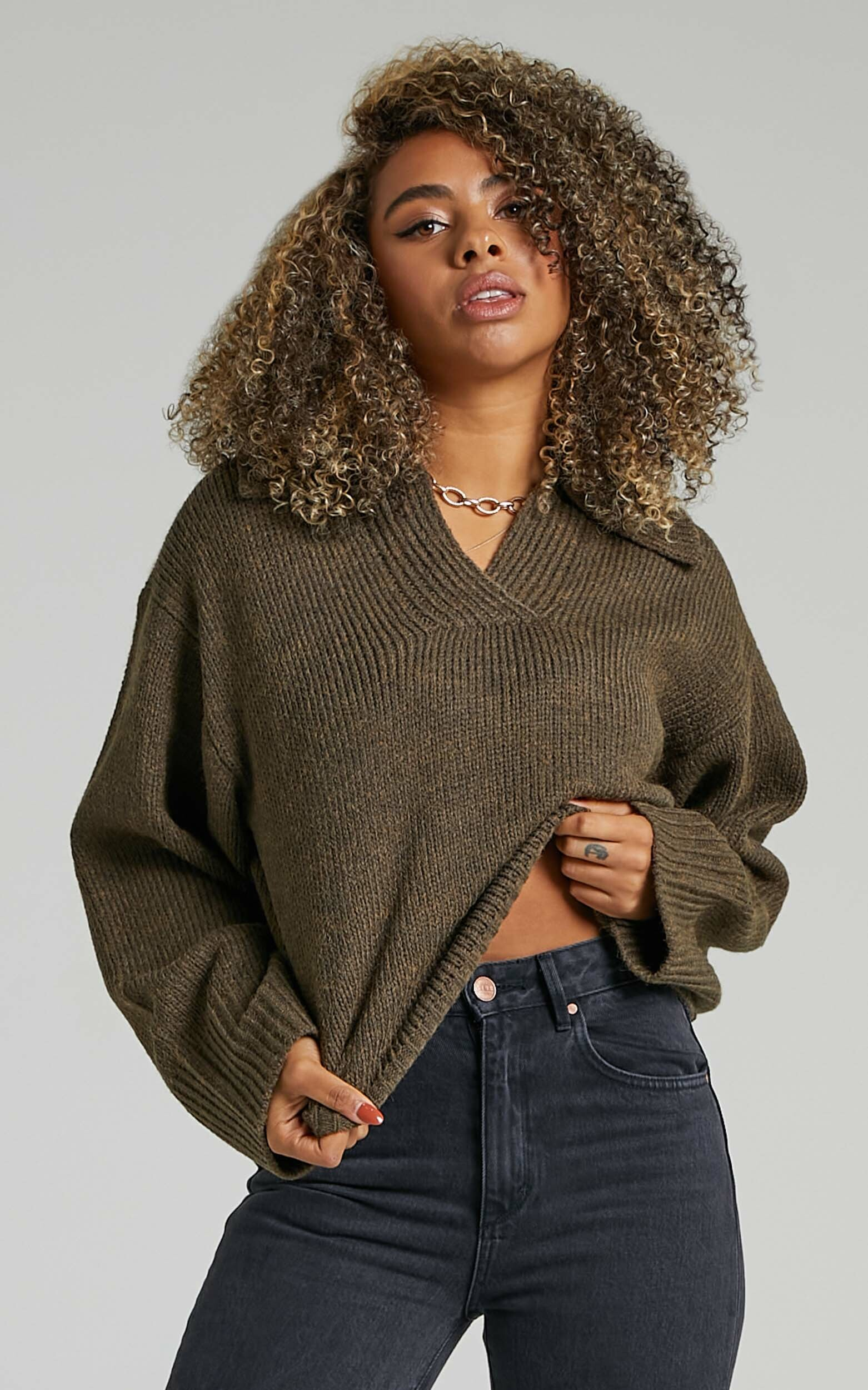 Lila Collared Knit Jumper in Moss Green - 06, GRN2, hi-res image number null