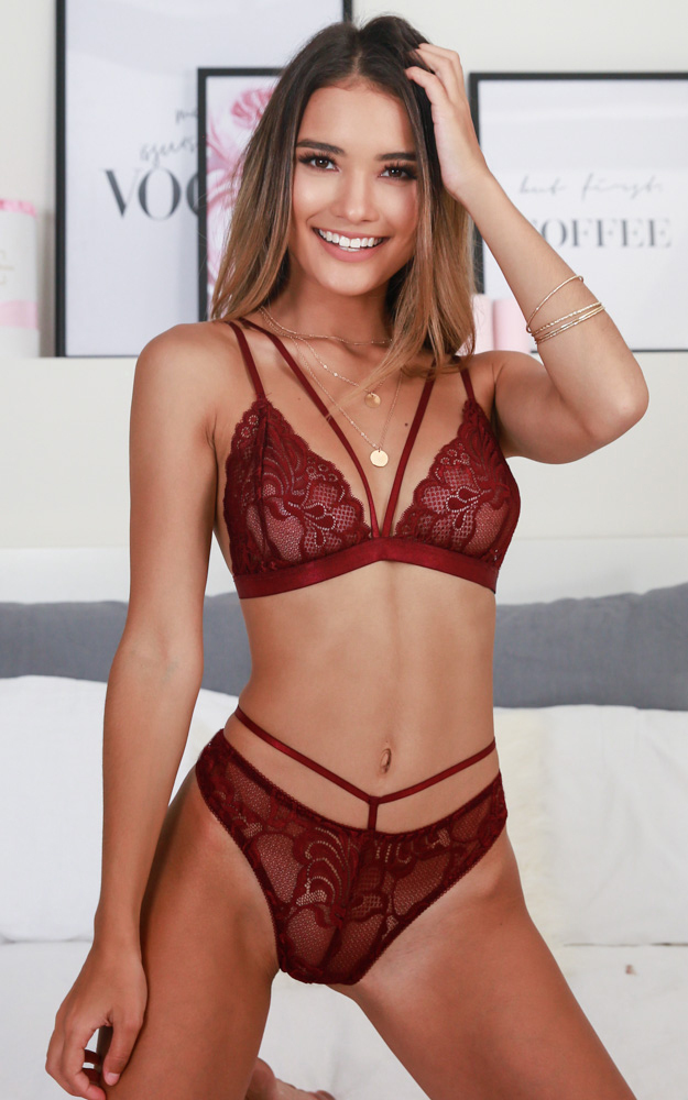 Wild Obsession Bralette set in wine - 14 (XL), Wine, hi-res image number null