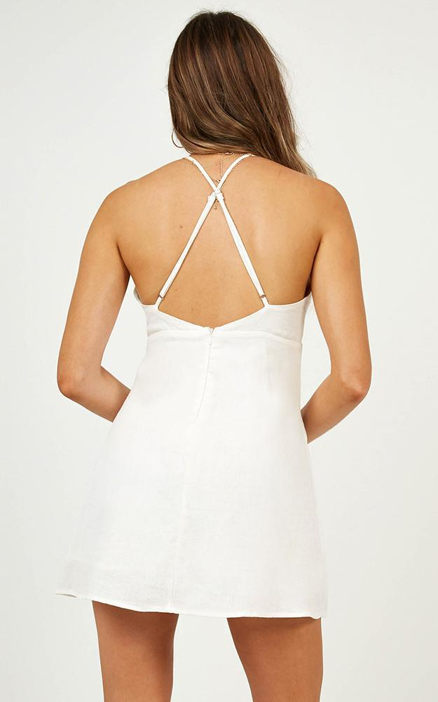 Keeping It Real Dress In White Linen Look - 12 (L), White, hi-res image number null