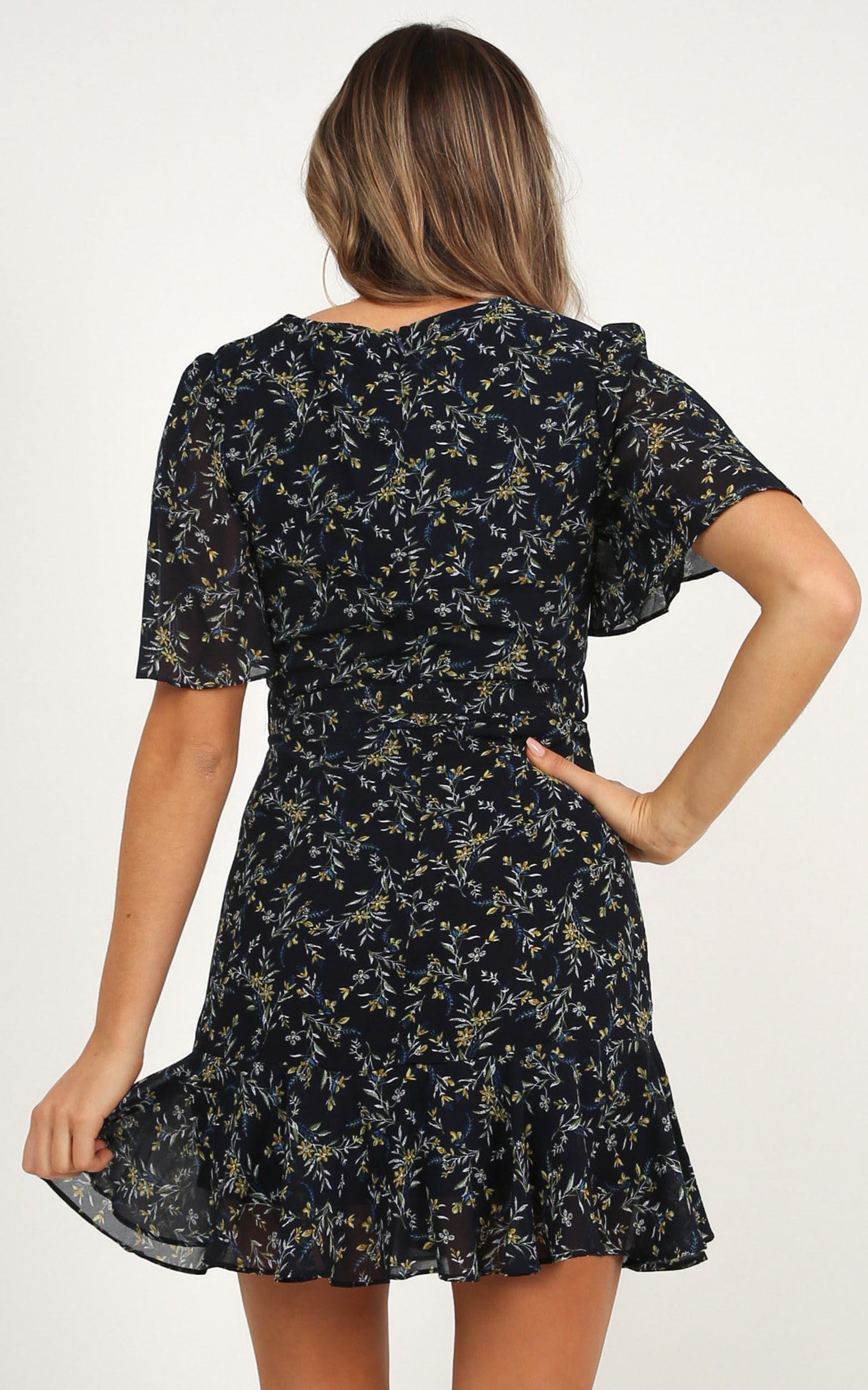 Small Space dress in navy floral - 12 (L), Navy, hi-res image number null