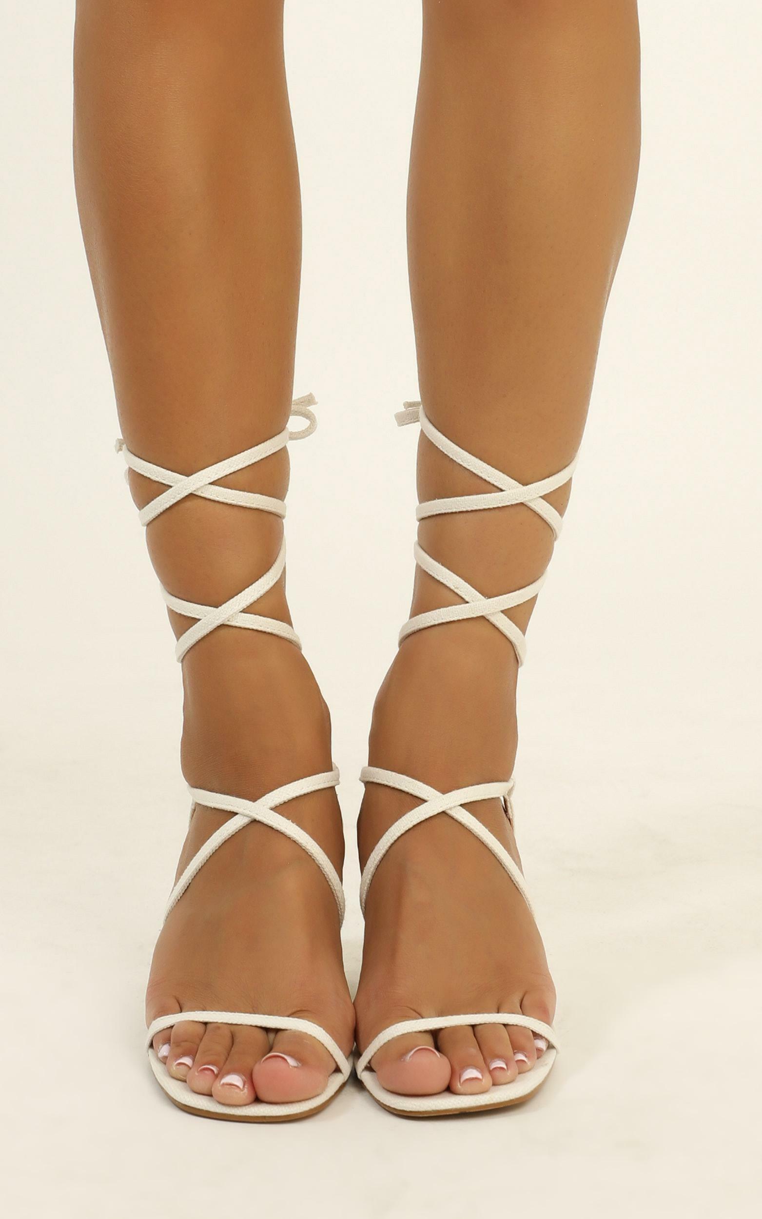 Billini - Yolanda heels in white linen - 10, Taupe, hi-res image number null