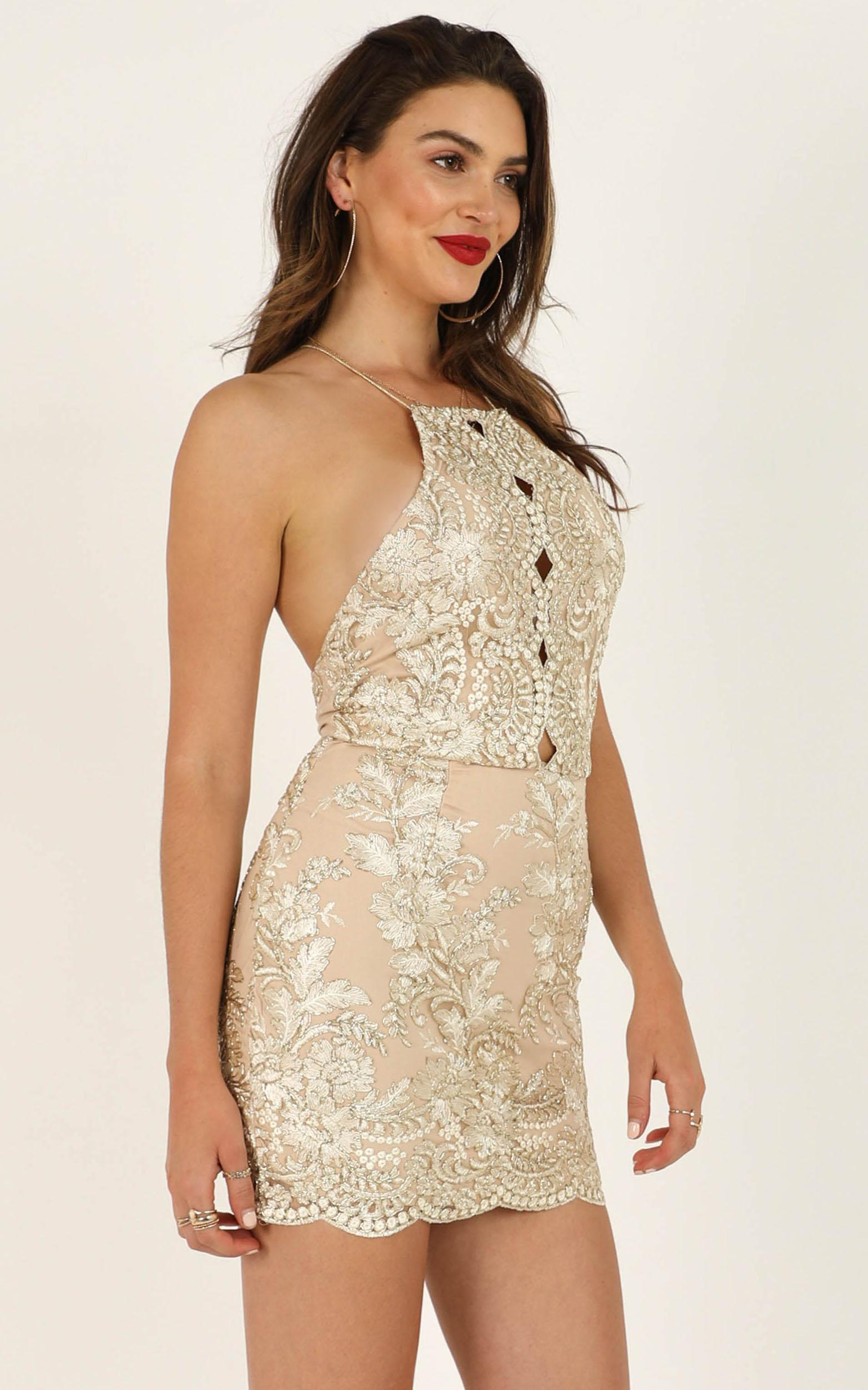 Through My Veins dress in gold glitter - 12 (L), GLD1, hi-res image number null