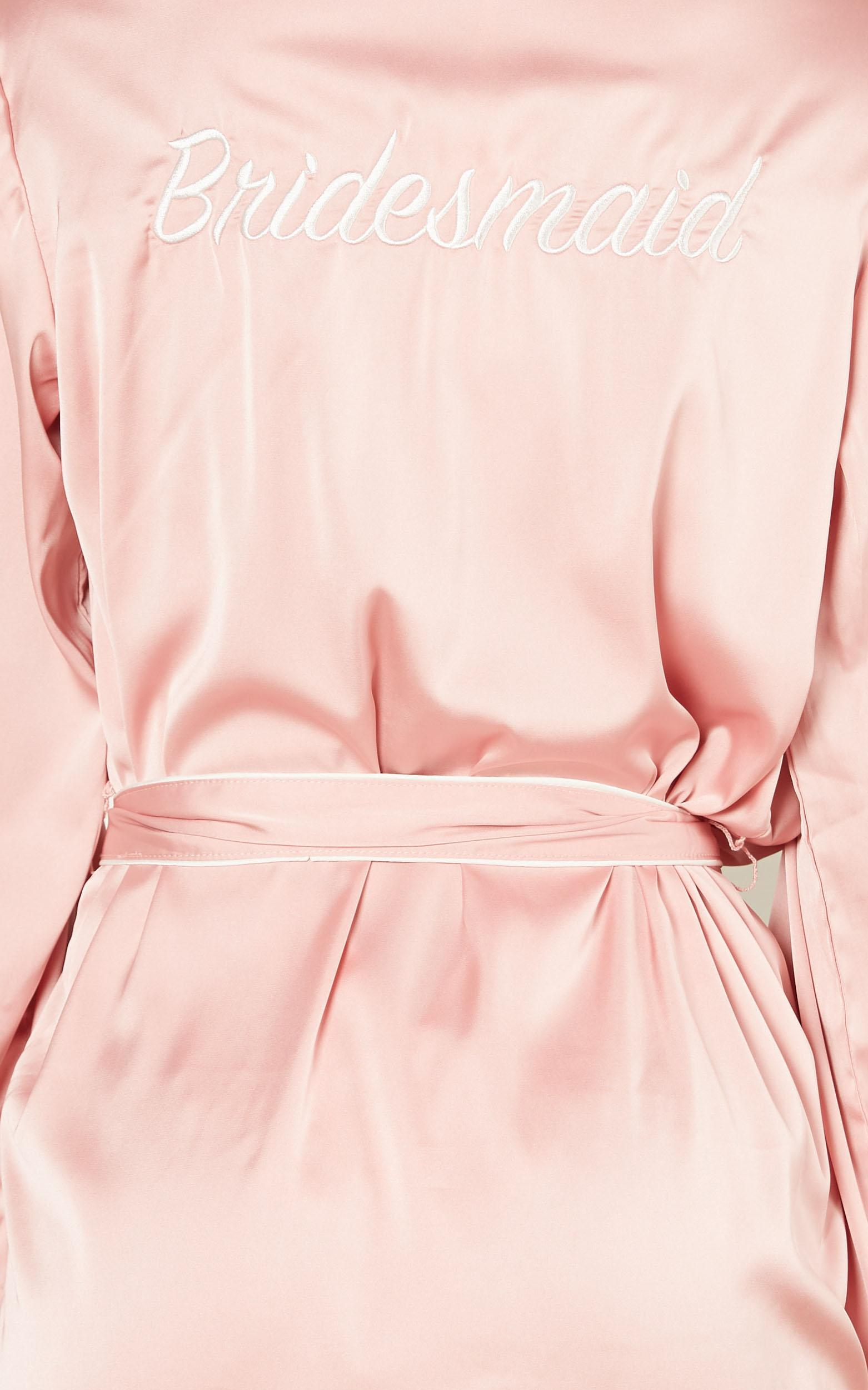 Ellena Bridesmaid Robe in blush satin - 4 (XXS), Blush, hi-res image number null