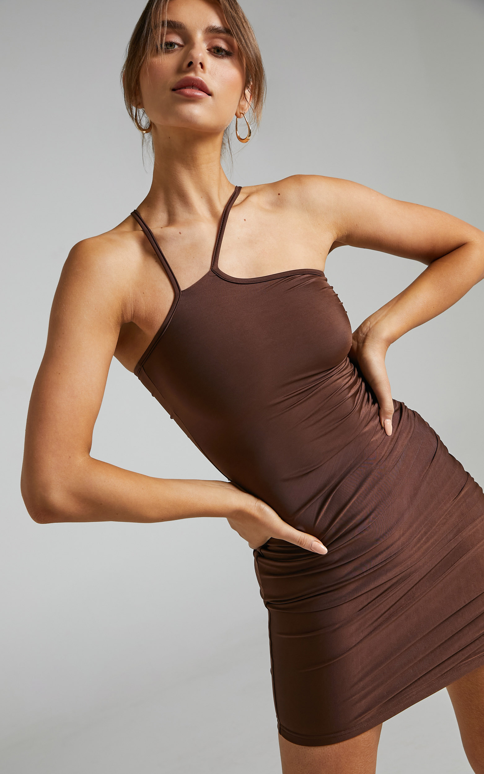 BY DYLN - Eugenie Dress in Chocolate - L, BRN1, hi-res image number null