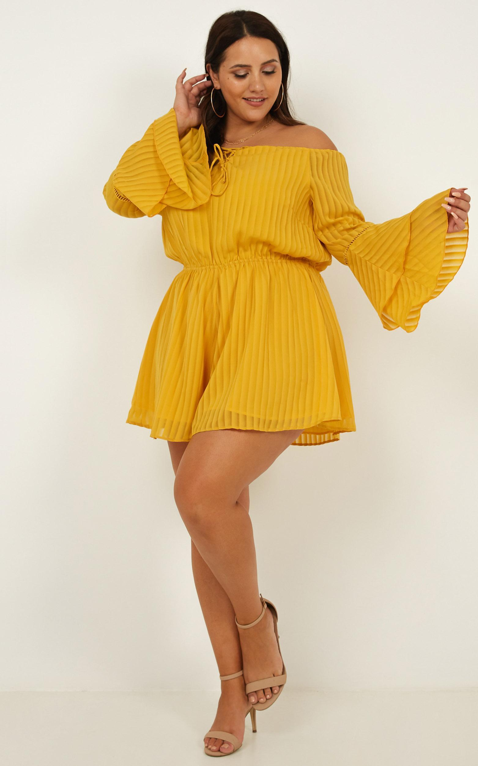 Cupids Arrow Playsuit in mustard - 20 (XXXXL), Mustard, hi-res image number null