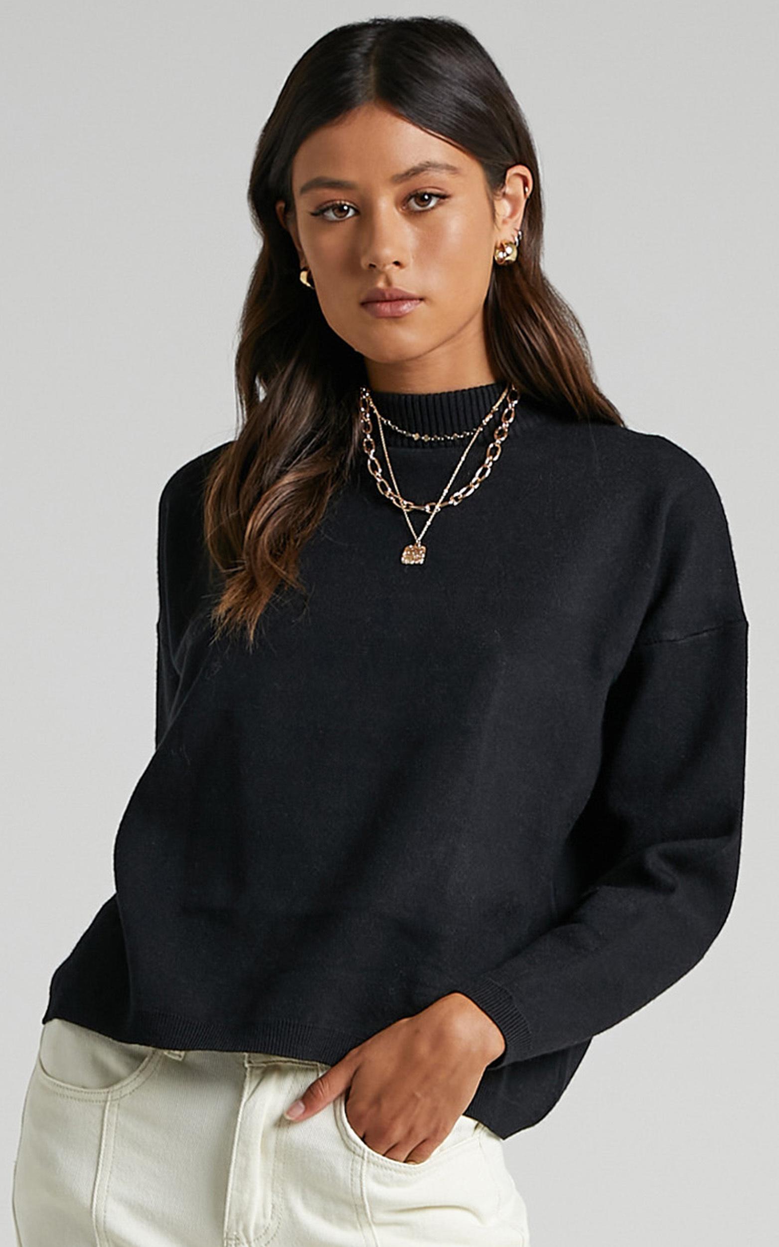 Midnight Glow Knit Jumper in Black - 12 (L), Black, hi-res image number null