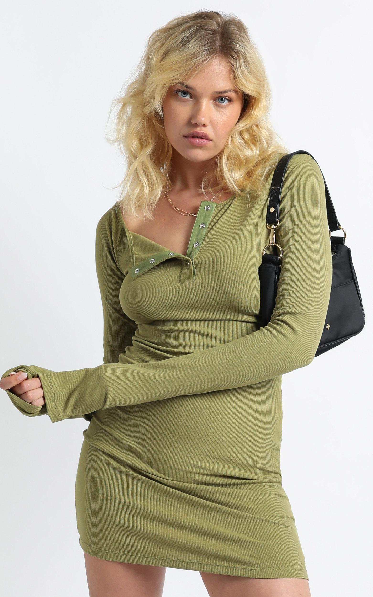 Lioness - Gramercy Mini Dress in Khaki - 4 (XXS), Khaki, hi-res image number null