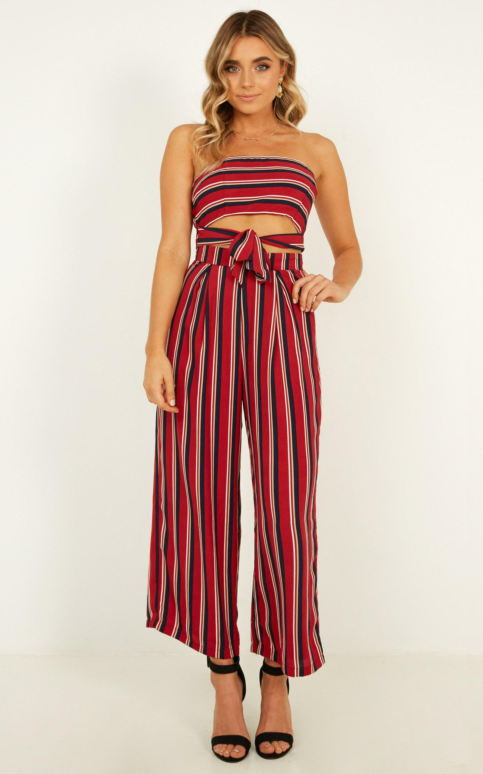 Keep On Flourishing Two Piece Set In wine stripe - 14 (XL), Wine, hi-res image number null