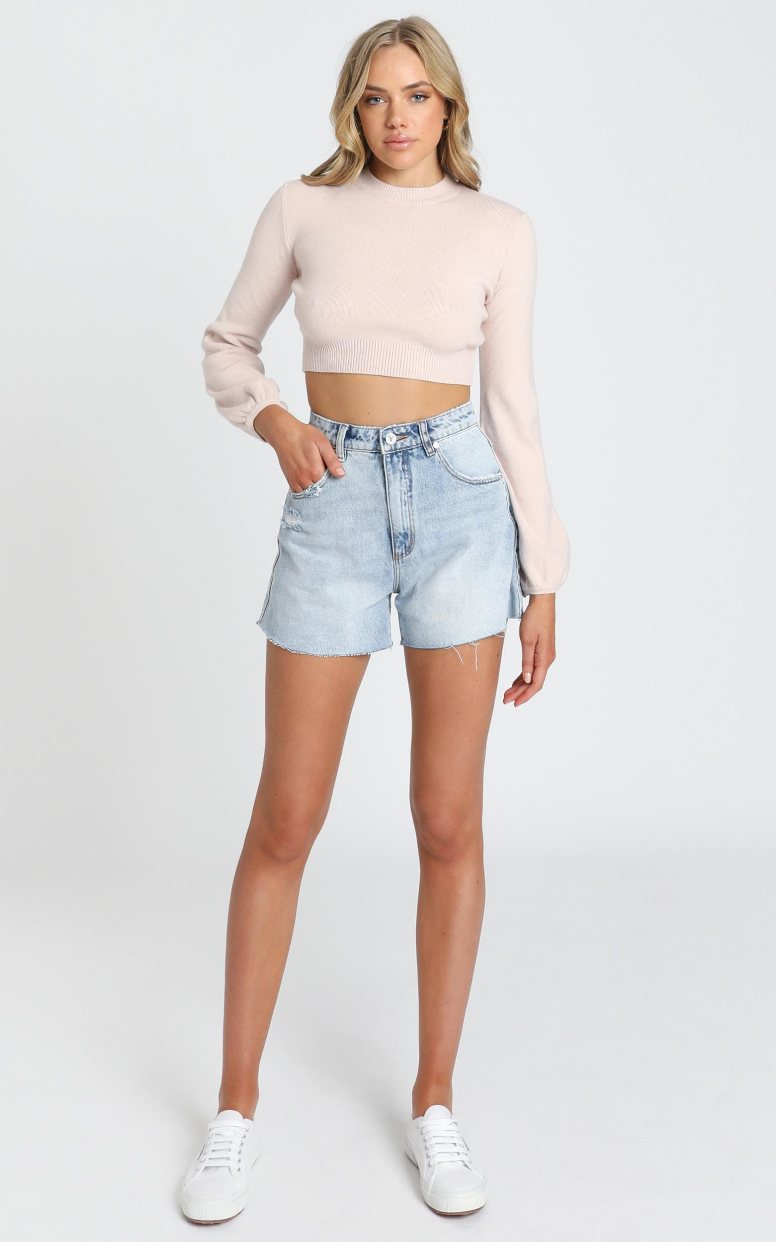 Nelli Cropped Knit Jumper in Blush - S, Blush, hi-res image number null