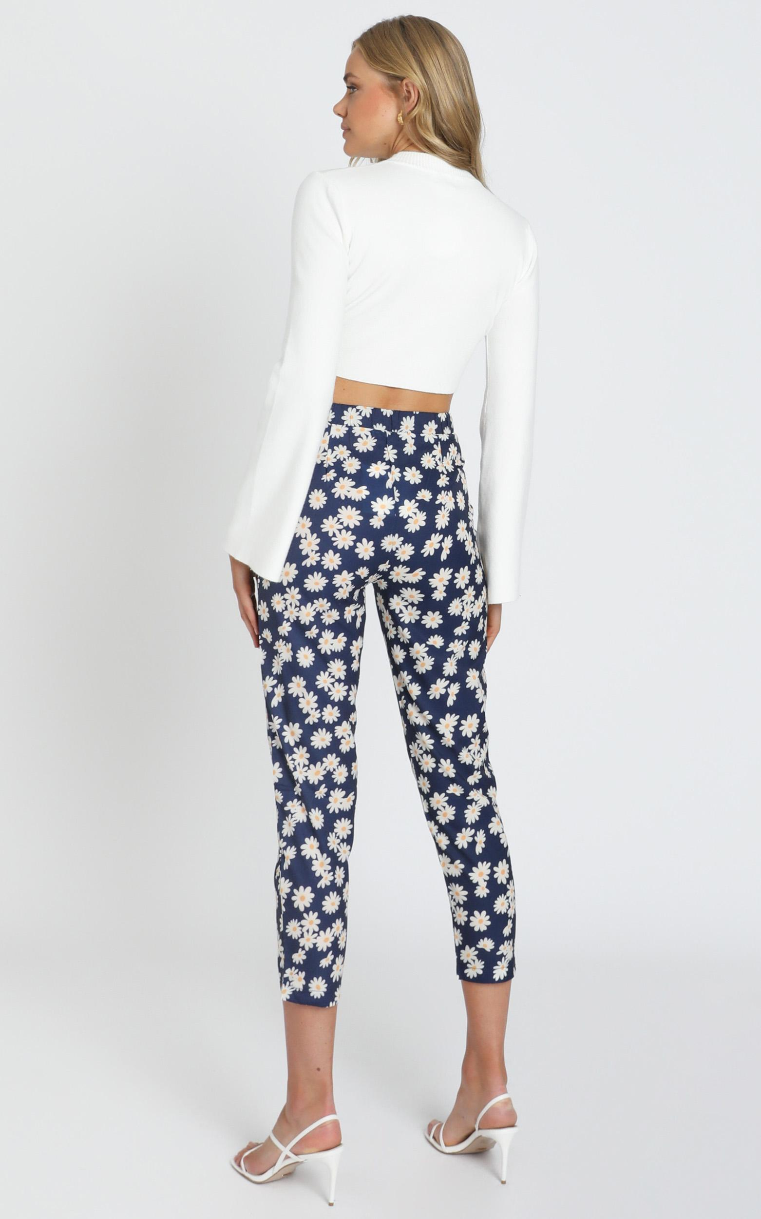 Shallon Pants in Navy Floral - 6 (XS), Navy, hi-res image number null