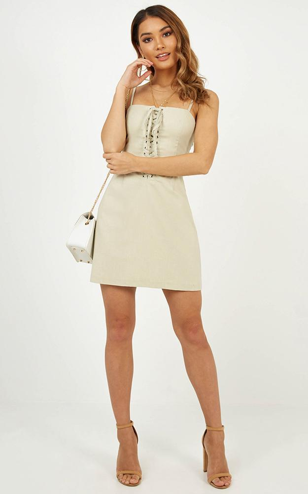Our Very Own dress in natural linen look, Beige, hi-res image number null
