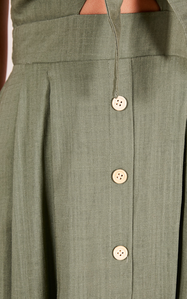 Life Goes On dress in khaki linen look - 12 (L), Khaki, hi-res image number null