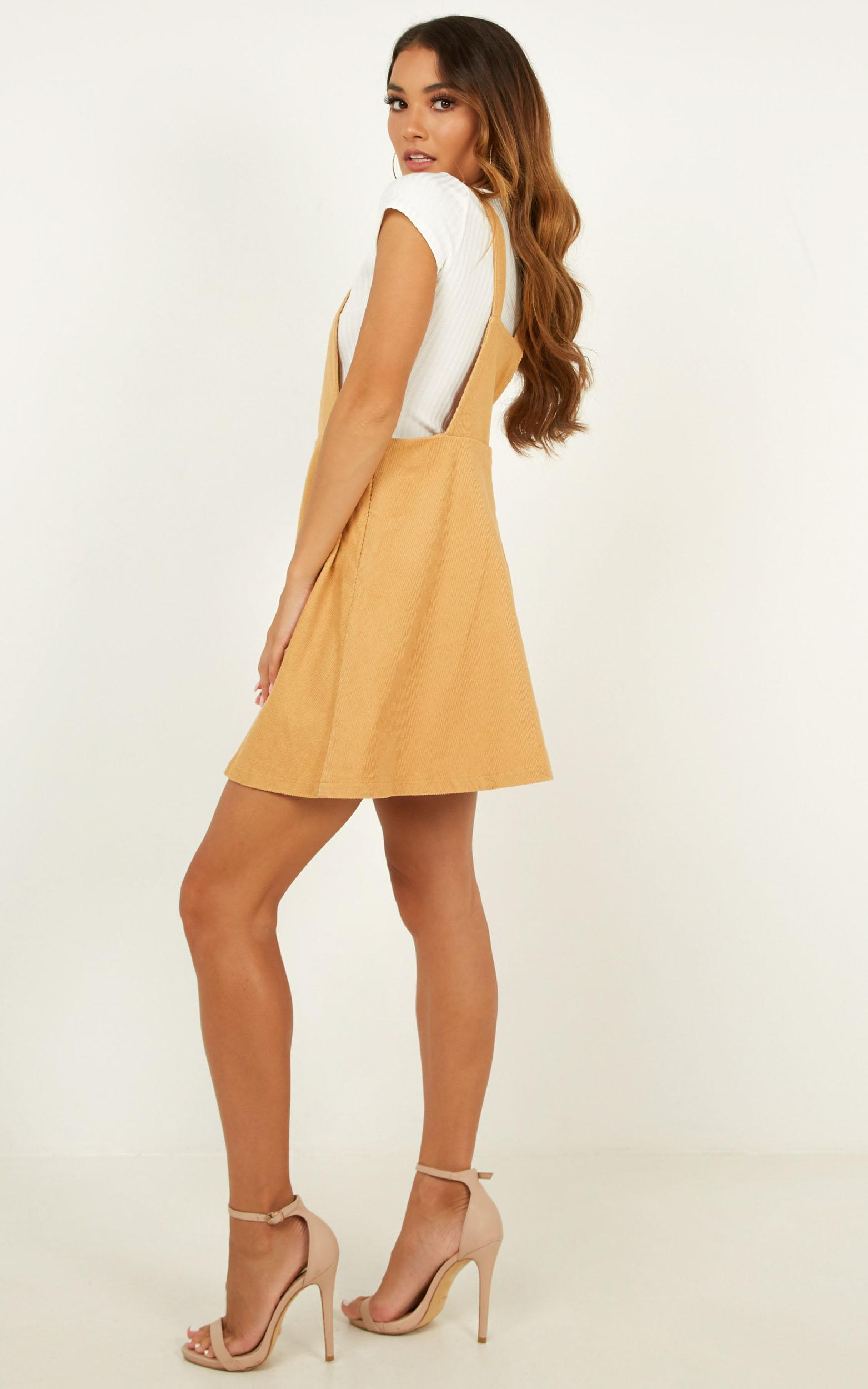 Thats What I Like pinafore dress in tan cord, Tan, hi-res image number null