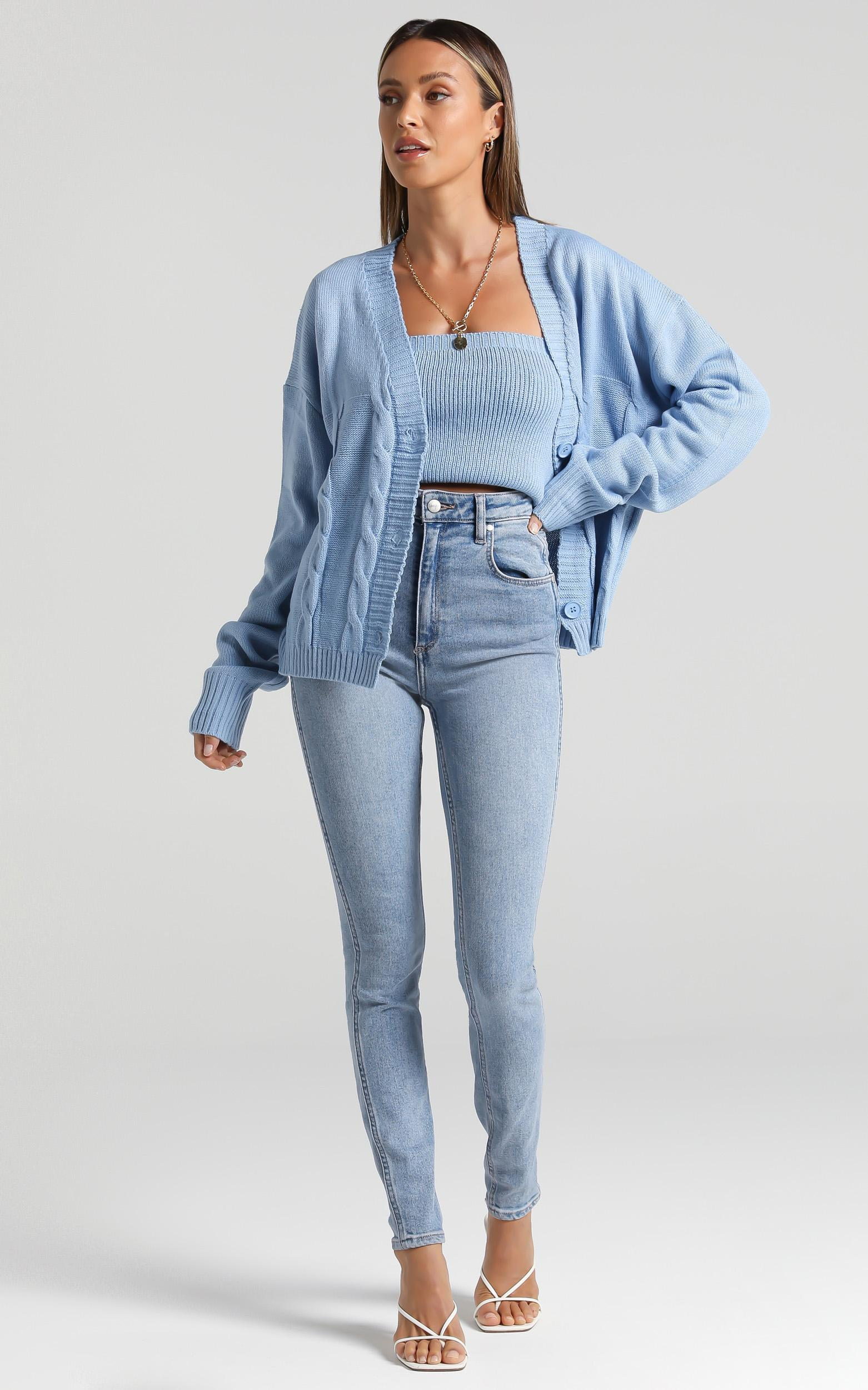 Poppy Knit Cardigan in Blue - L/XL, Blue, hi-res image number null