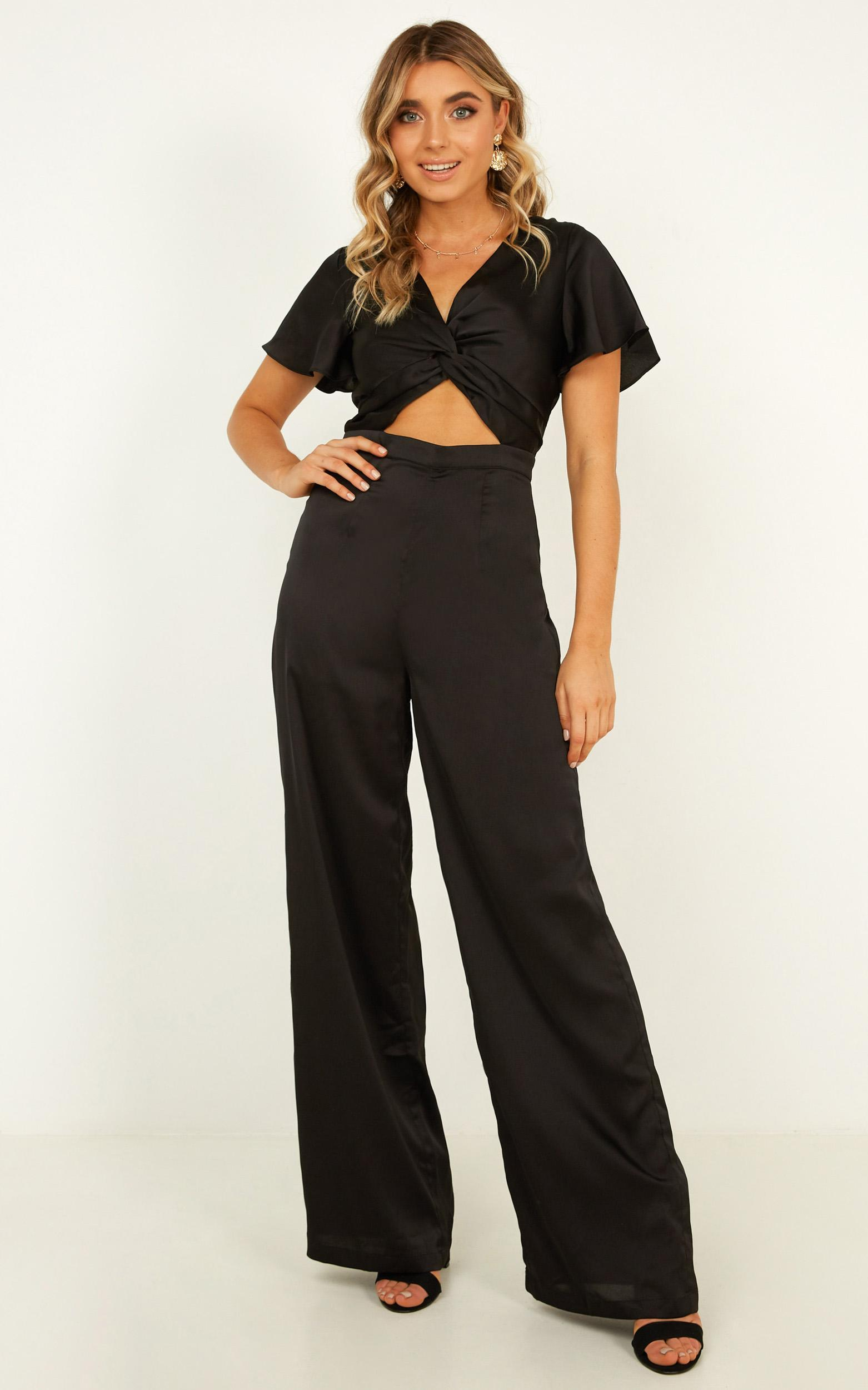 The Way You Are Jumpsuit In black satin - 20 (XXXXL), Black, hi-res image number null