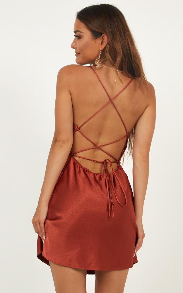 Dress ups dress in rust satin - 12 (L), Rust, hi-res image number null