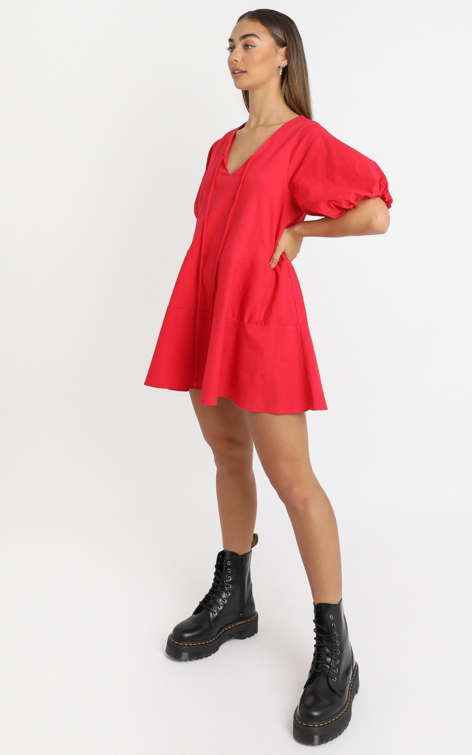 Krizza Mini Dress in red linen look - 6 (XS), Red, hi-res image number null