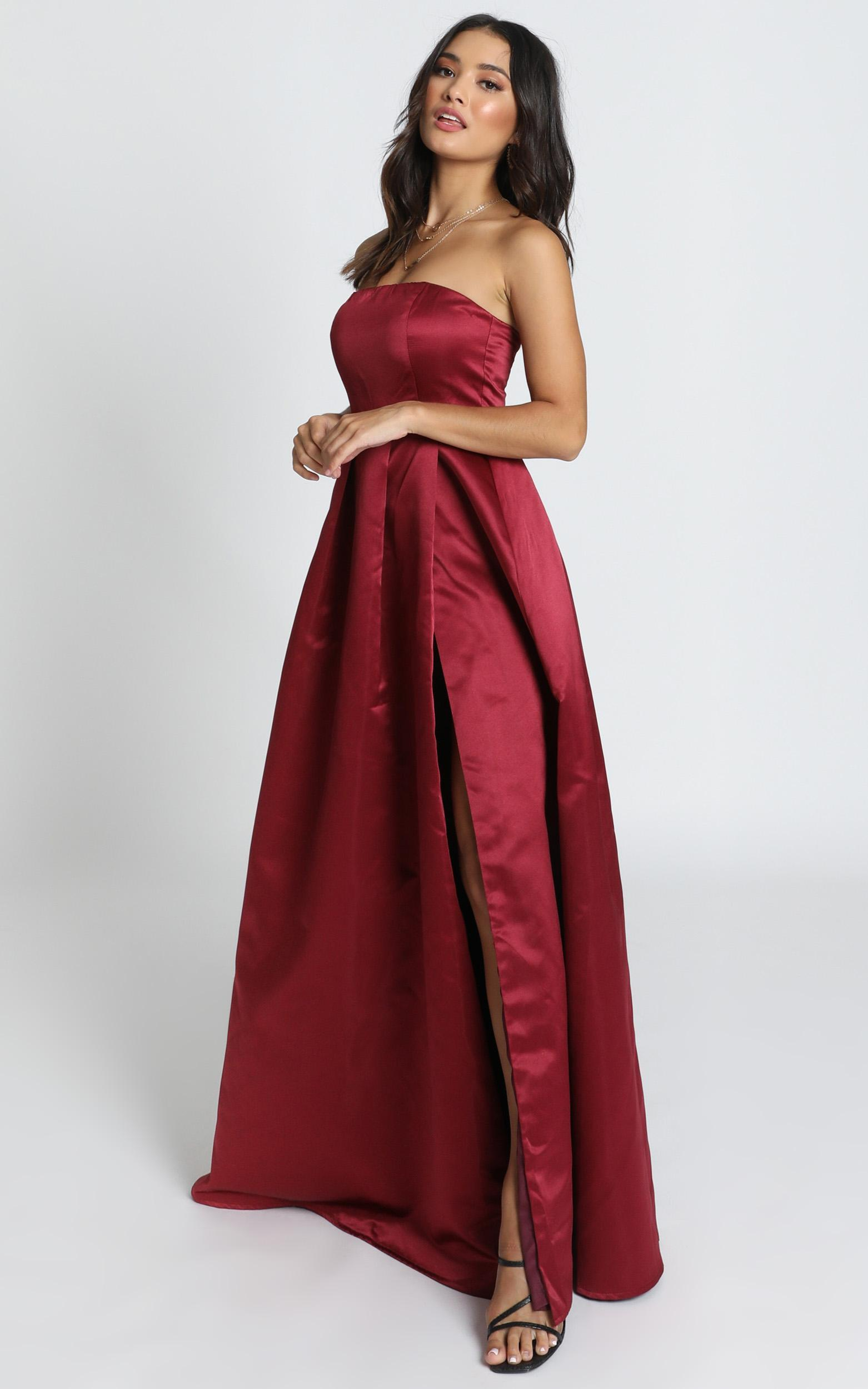 Queen Of The Show Dress In wine satin - 18 (XXXL), Wine, hi-res image number null