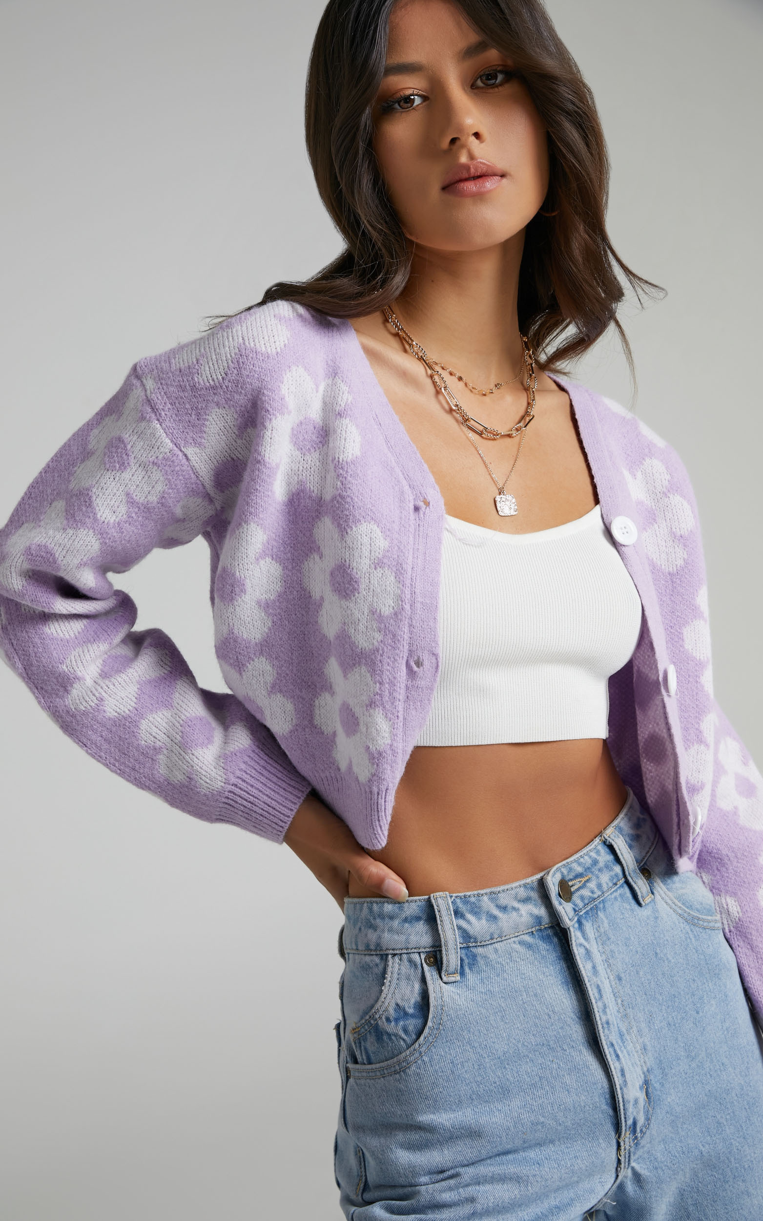 Daisy Flowers Button Up Knit Cardigan in Lilac Lilac - L, PRP1, hi-res image number null