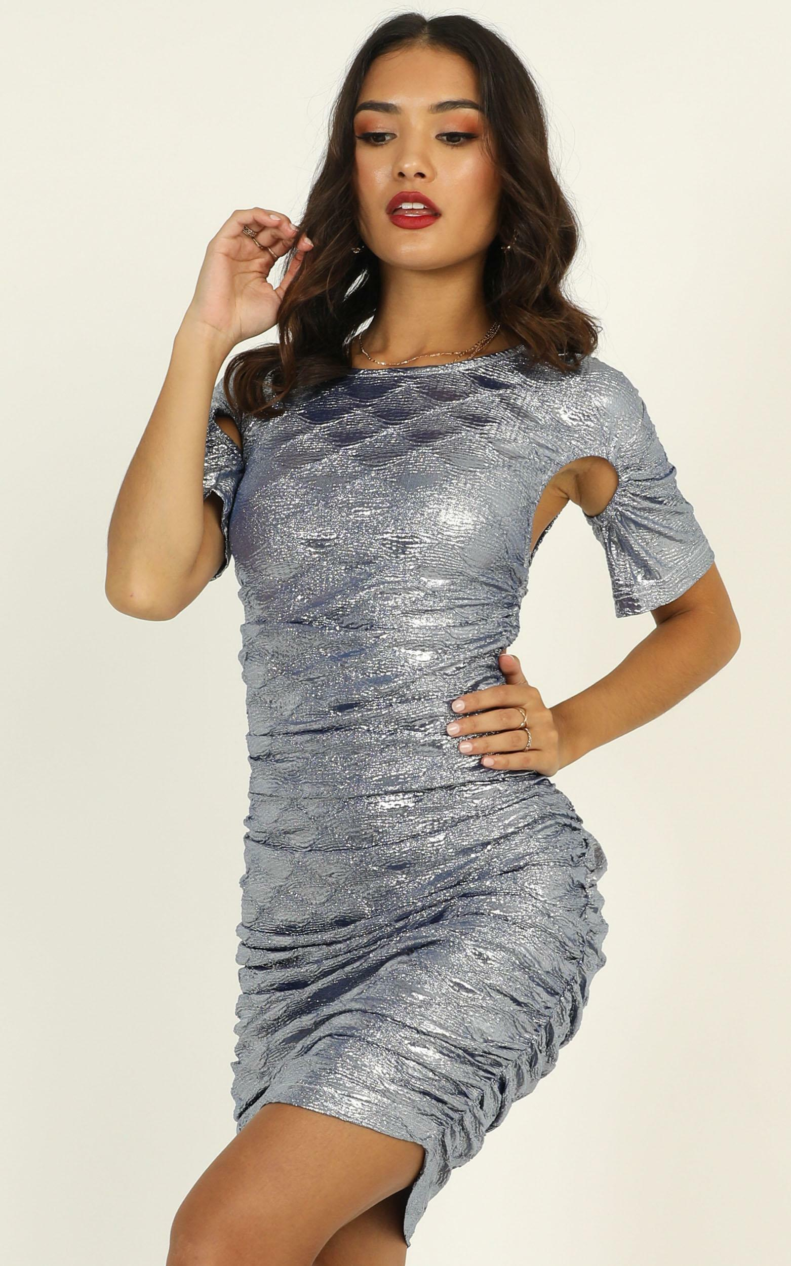 Lioness - Just An Option Dress In Blue Metallic - 12 (L), Blue, hi-res image number null