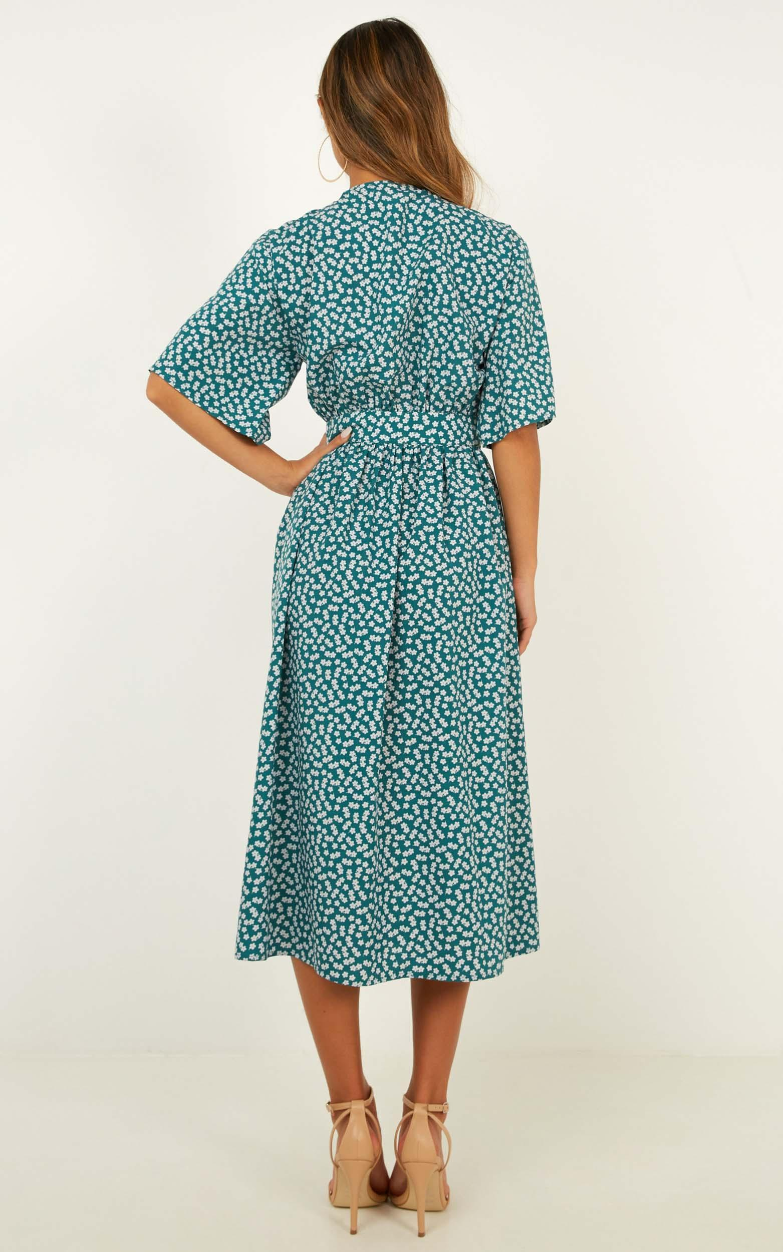 Inner Circle Only Dress in emerald green floral - 12 (L), Green, hi-res image number null