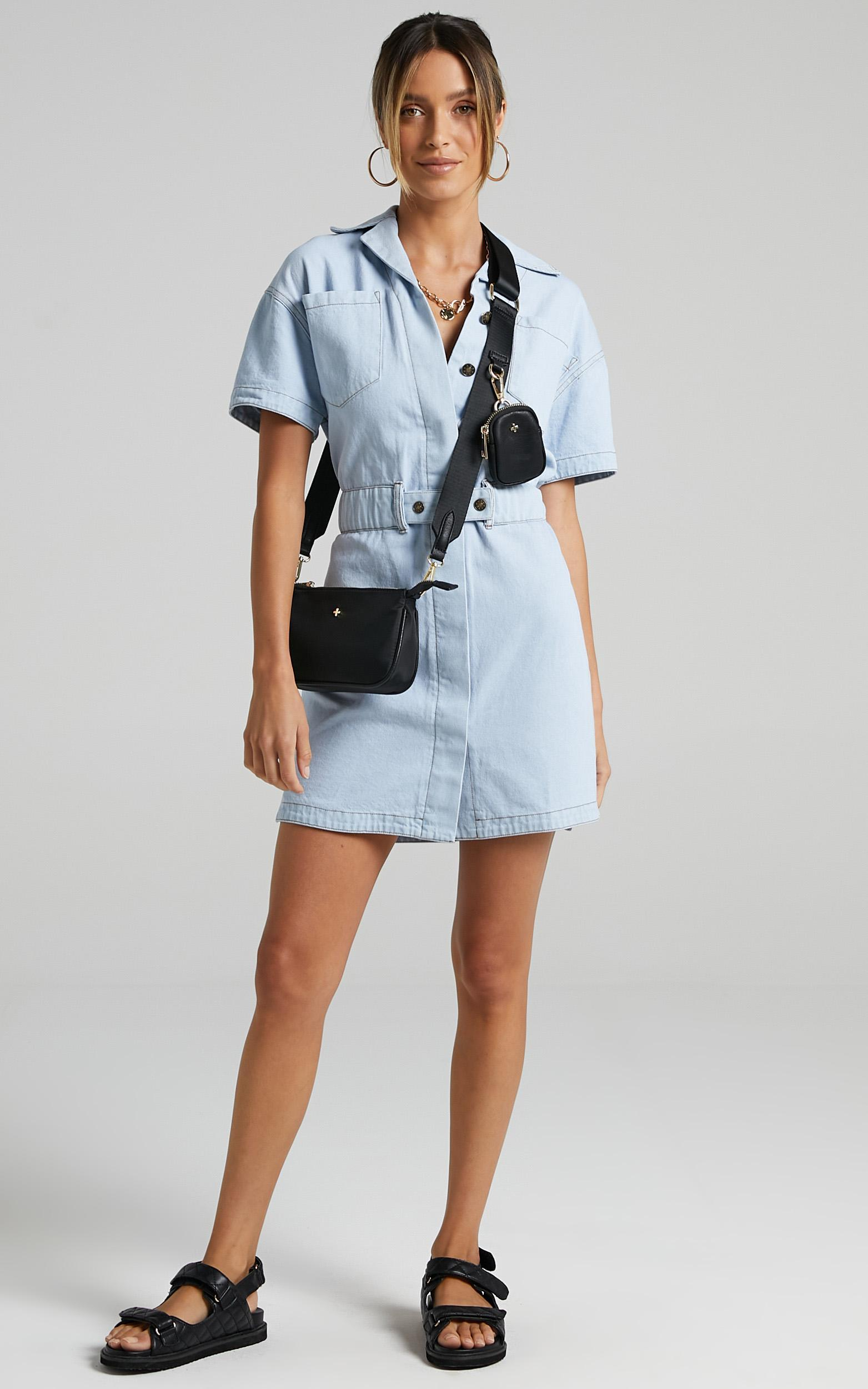Lioness - Chateau Denim Mini Dress in Light Wash - XS, Blue, hi-res image number null