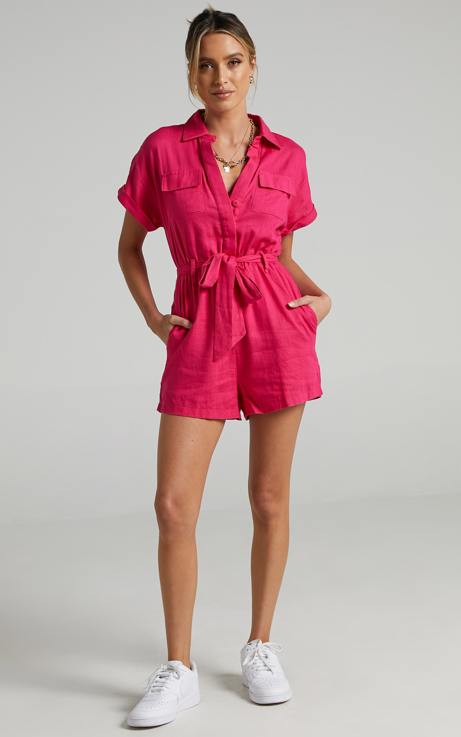 Zarina Belted Playsuit in Hot Pink - 06, PNK4, hi-res image number null