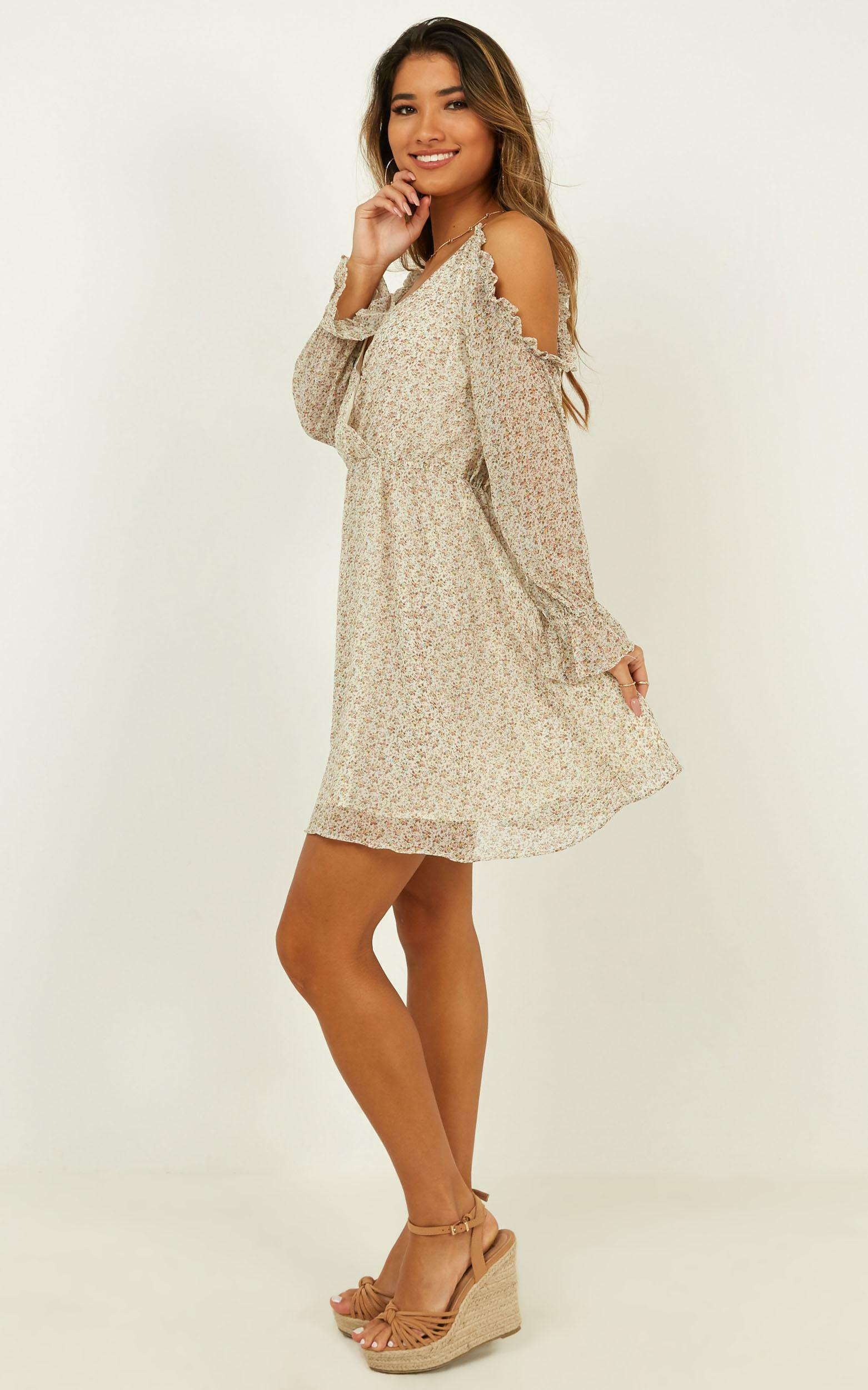 Where You Were dress in cream floral - 12 (L), Cream, hi-res image number null