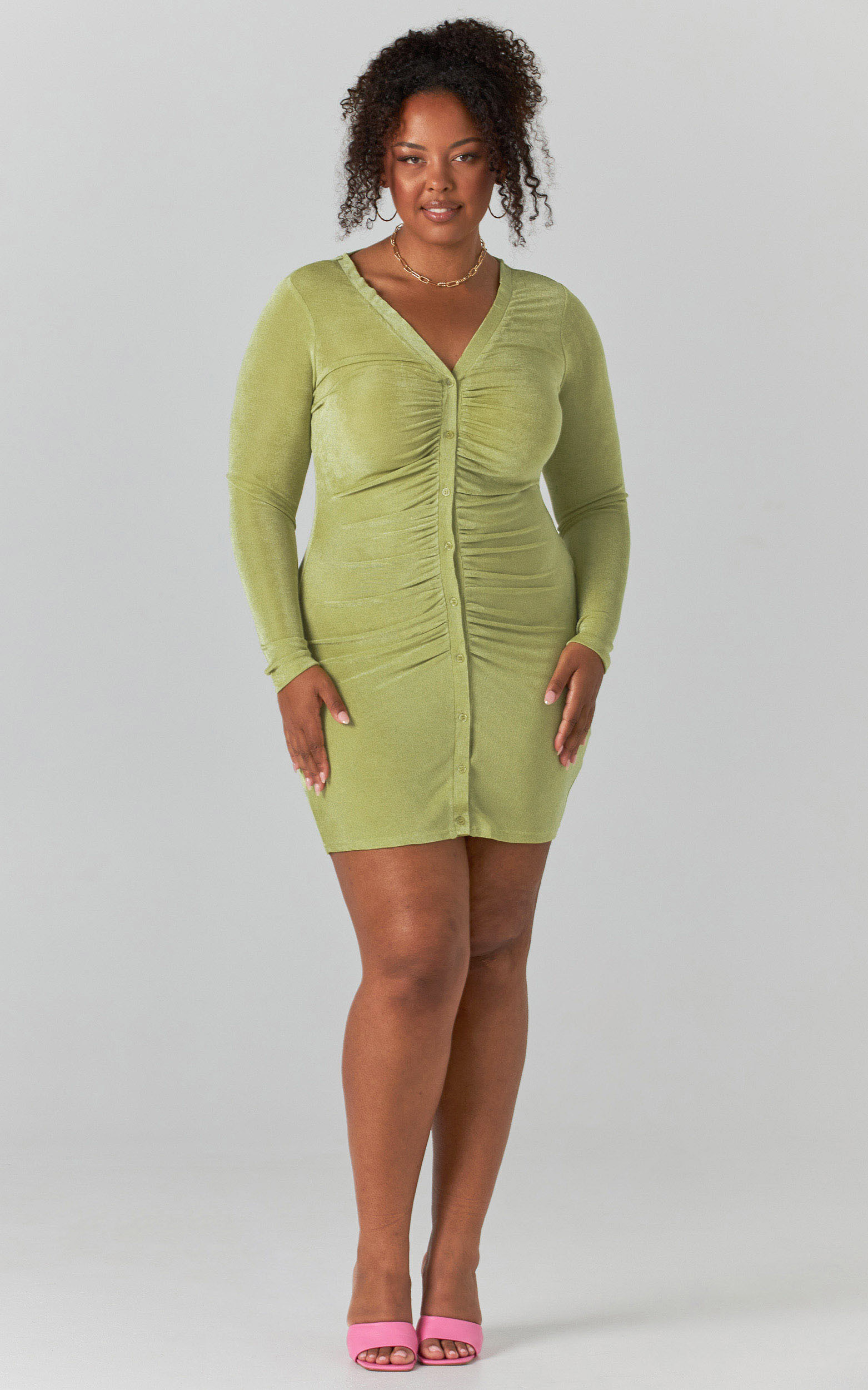 Shanti Ruched Button Front Mini Dress in Green - 04, GRN2, hi-res image number null