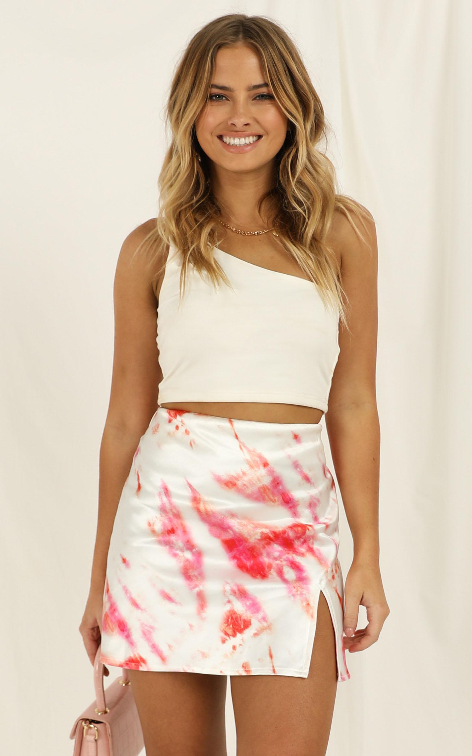 Alfie Skirt In Pink Tie Dye Satin - 4 (XXS), Pink, hi-res image number null