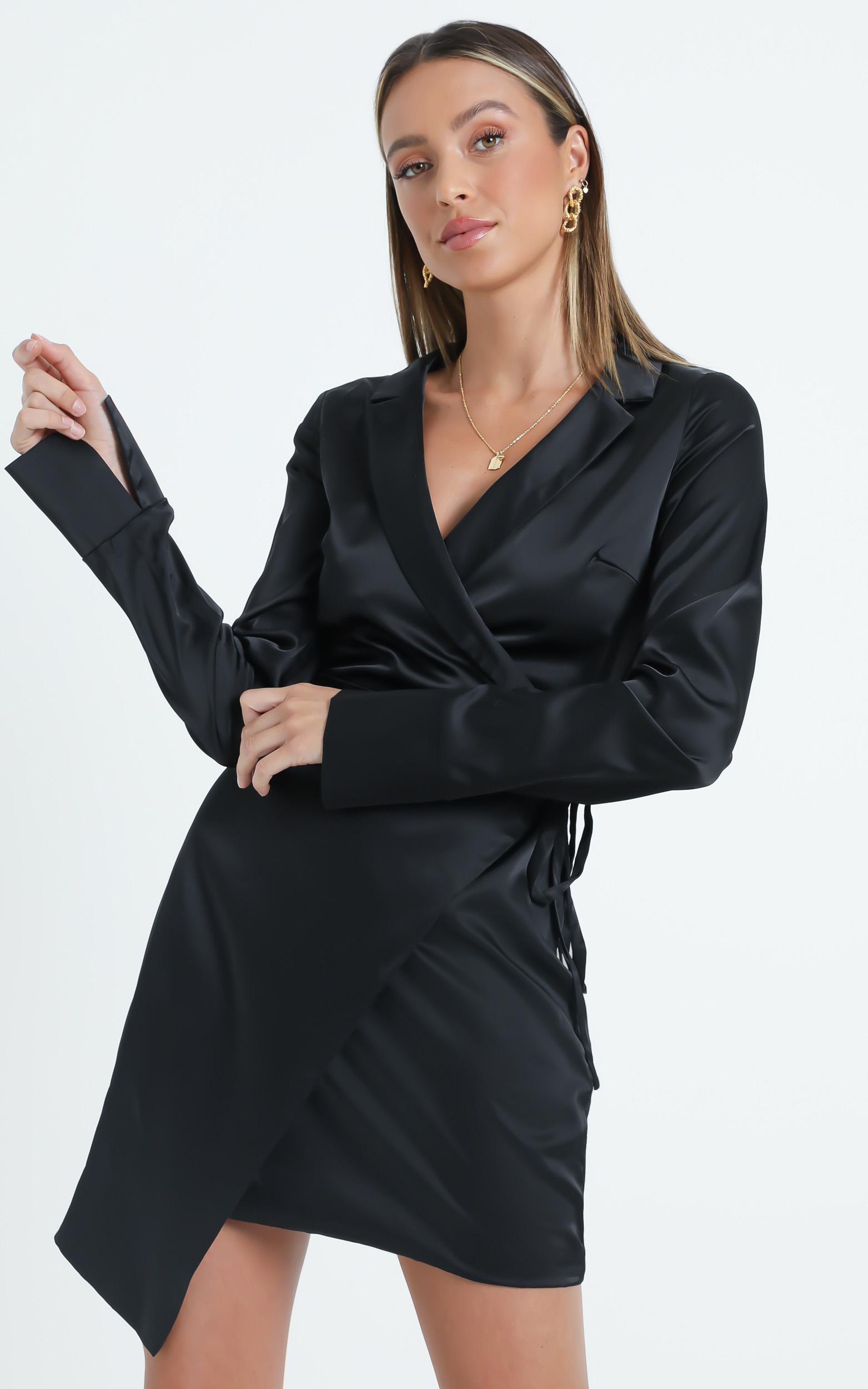 Loren Dress In Black Satin - 6 (XS), Black, hi-res image number null