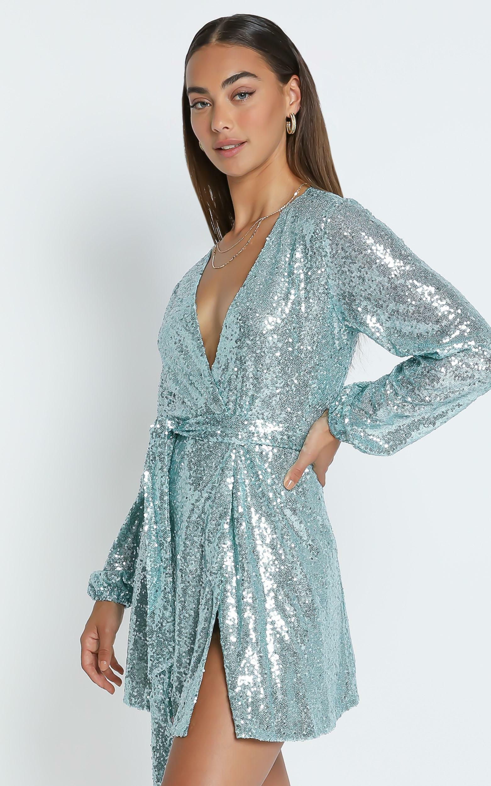 Three Of Us Dress In Light Blue Sequin - 4 (XXS), Blue, hi-res image number null