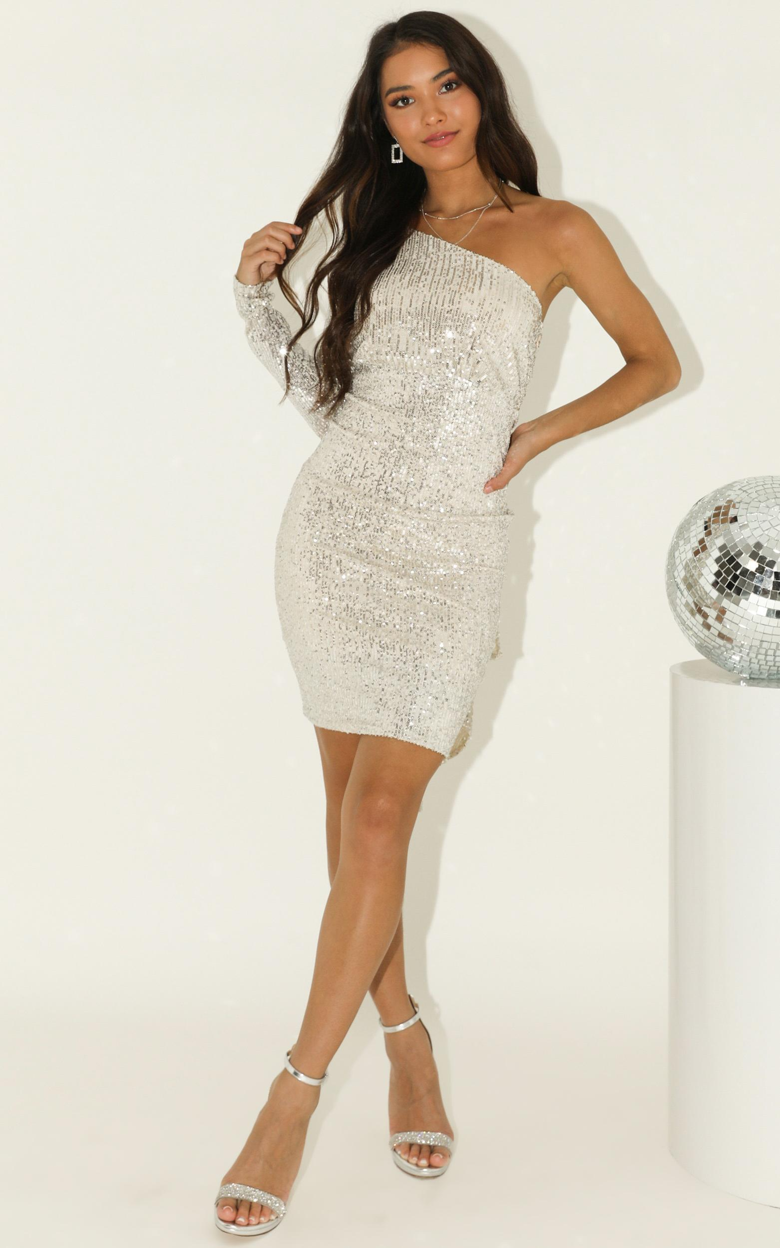 Shiny Thing dress in silver sequin - 12 (L), Silver, hi-res image number null