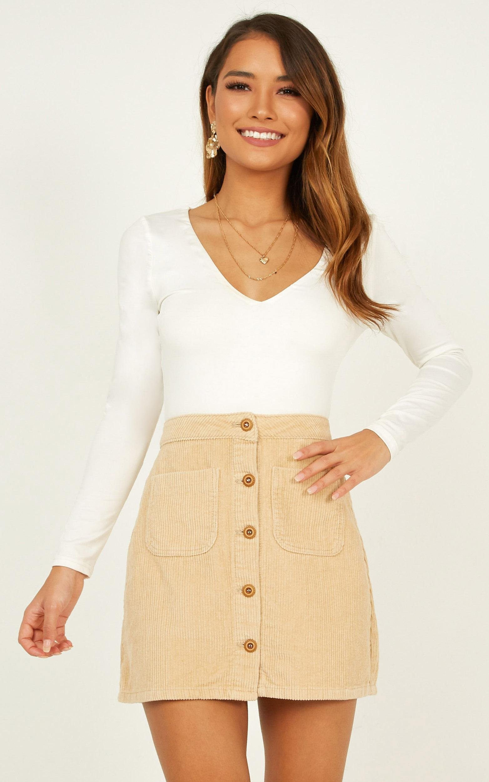 Cant Help You Skirt in beige cord - 20 (XXXXL), Beige, hi-res image number null